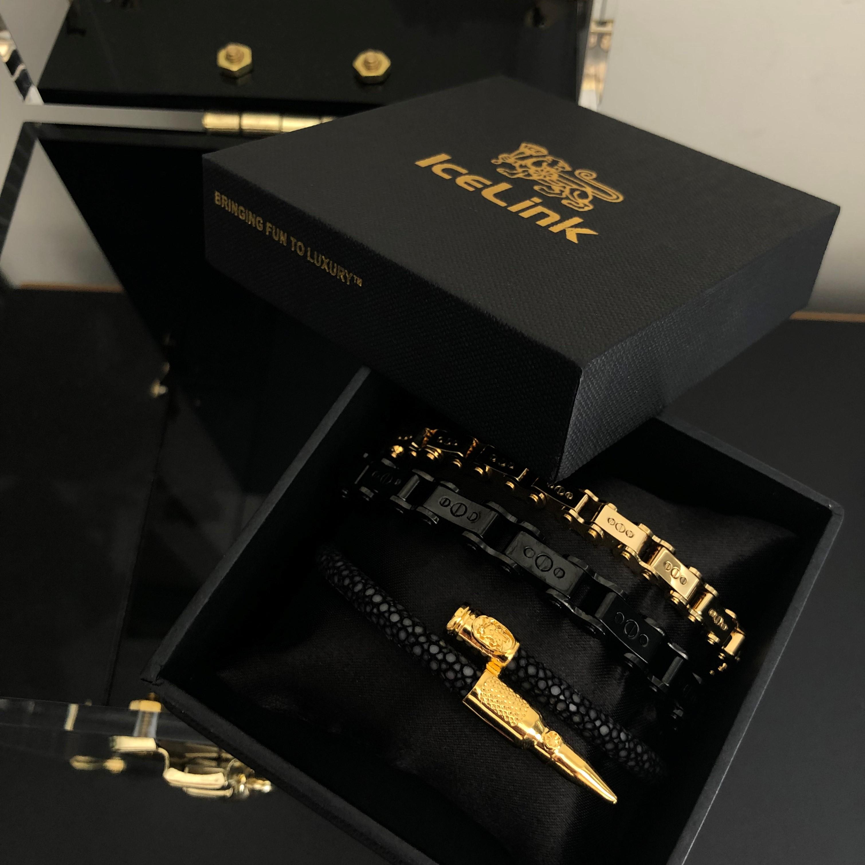 Men's Black PVD 9.5MM Bicycle Bracelet in box