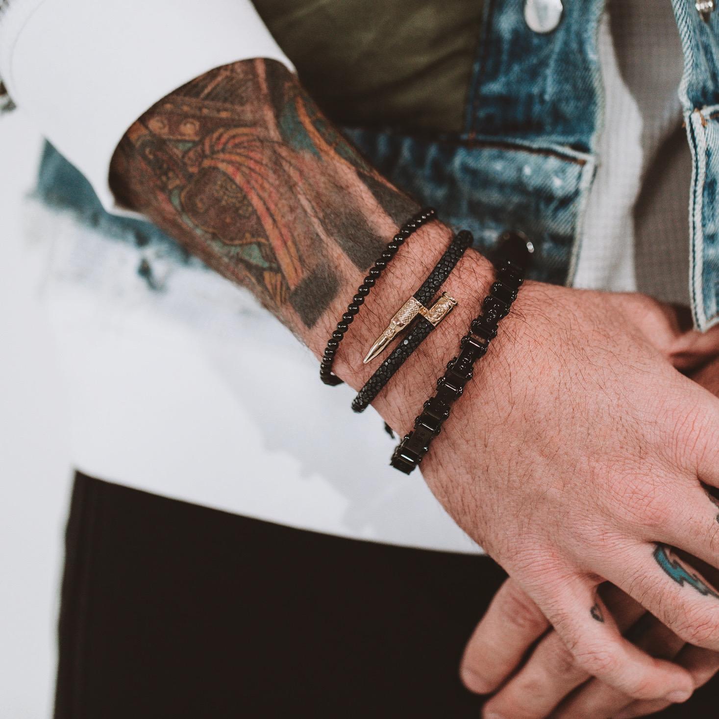 Man wearing Men's Black PVD 9.5MM Bicycle Bracelet and other bracelets