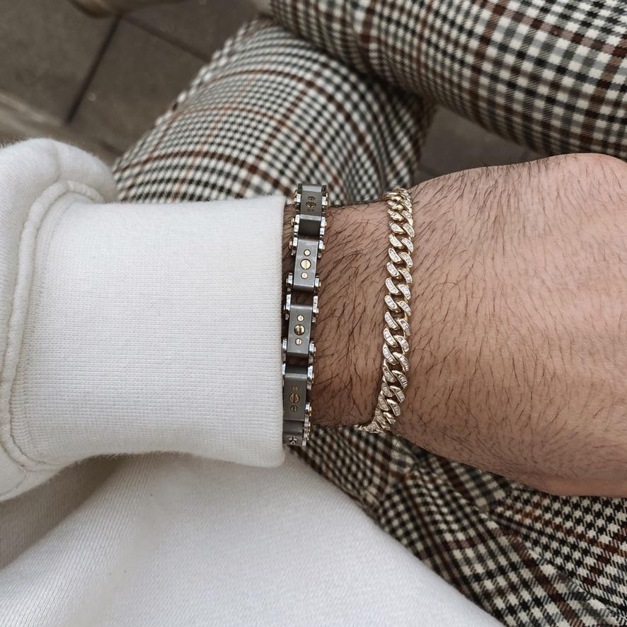 Men's Two-Tone 9.5MM Bicycle Bracelet on man's wrist