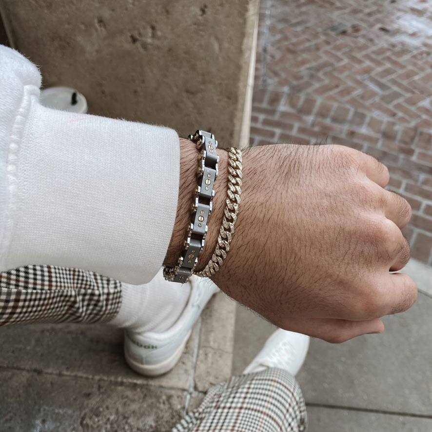 Men's Two-Tone 9.5MM Bicycle Bracelet and gold bracelet