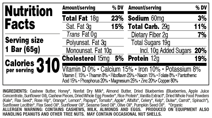 Blueberry Cashew nutritional information
