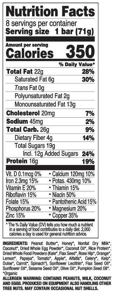 Coconut Peanut Butter nutritional information