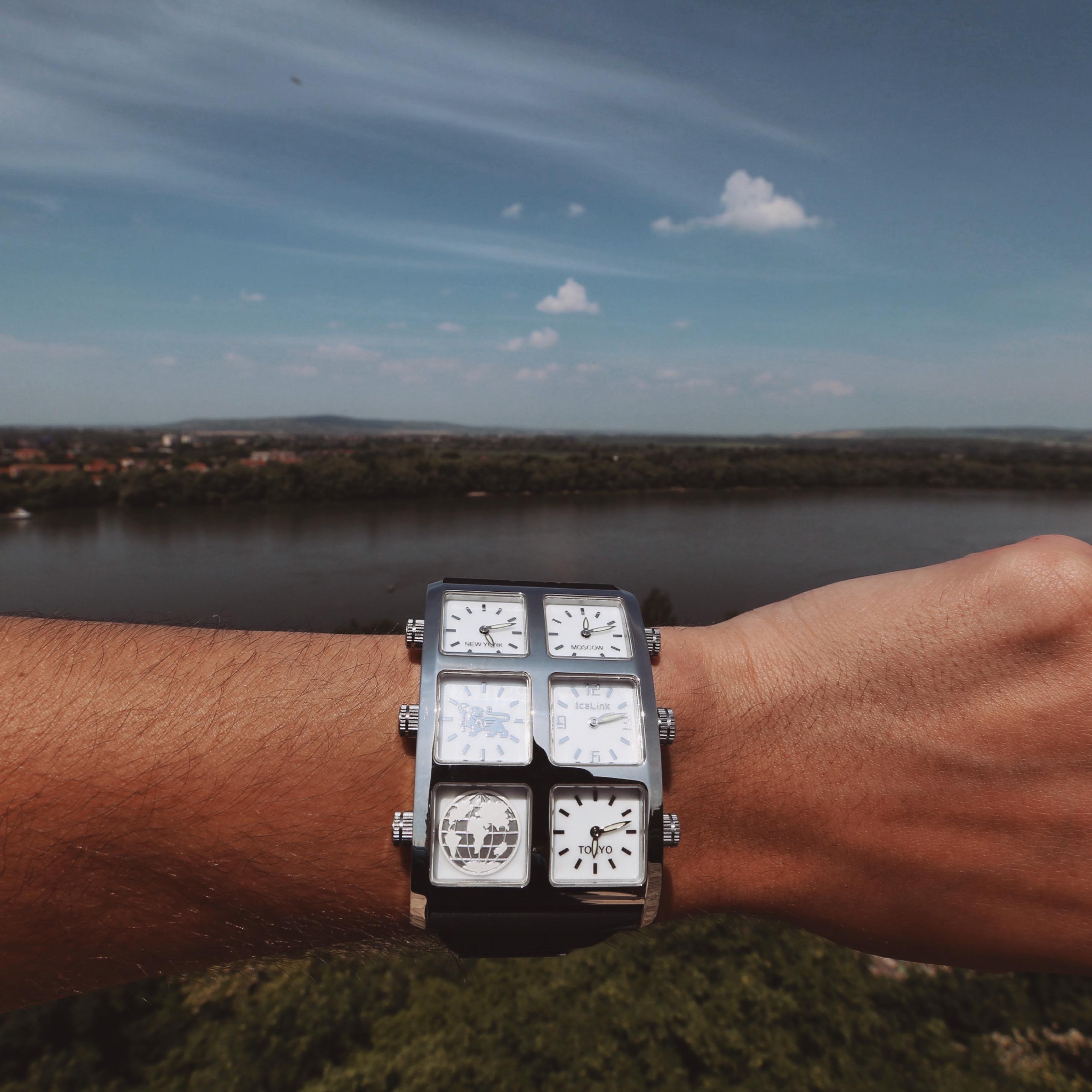 Man wearing Zhu 60mm Multi-Time Zone Watch - IceLink