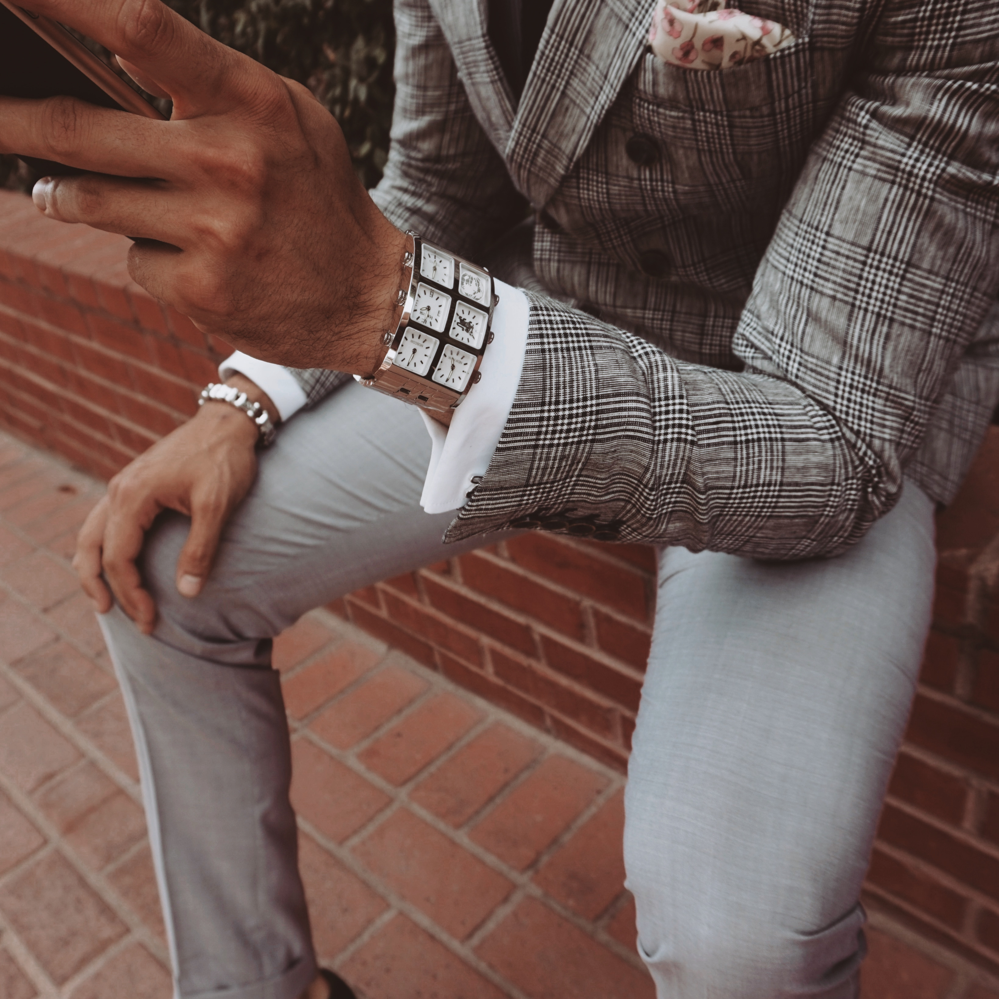 Close up of man wearing Zhu 60mm Multi-Time Zone Watch - IceLink