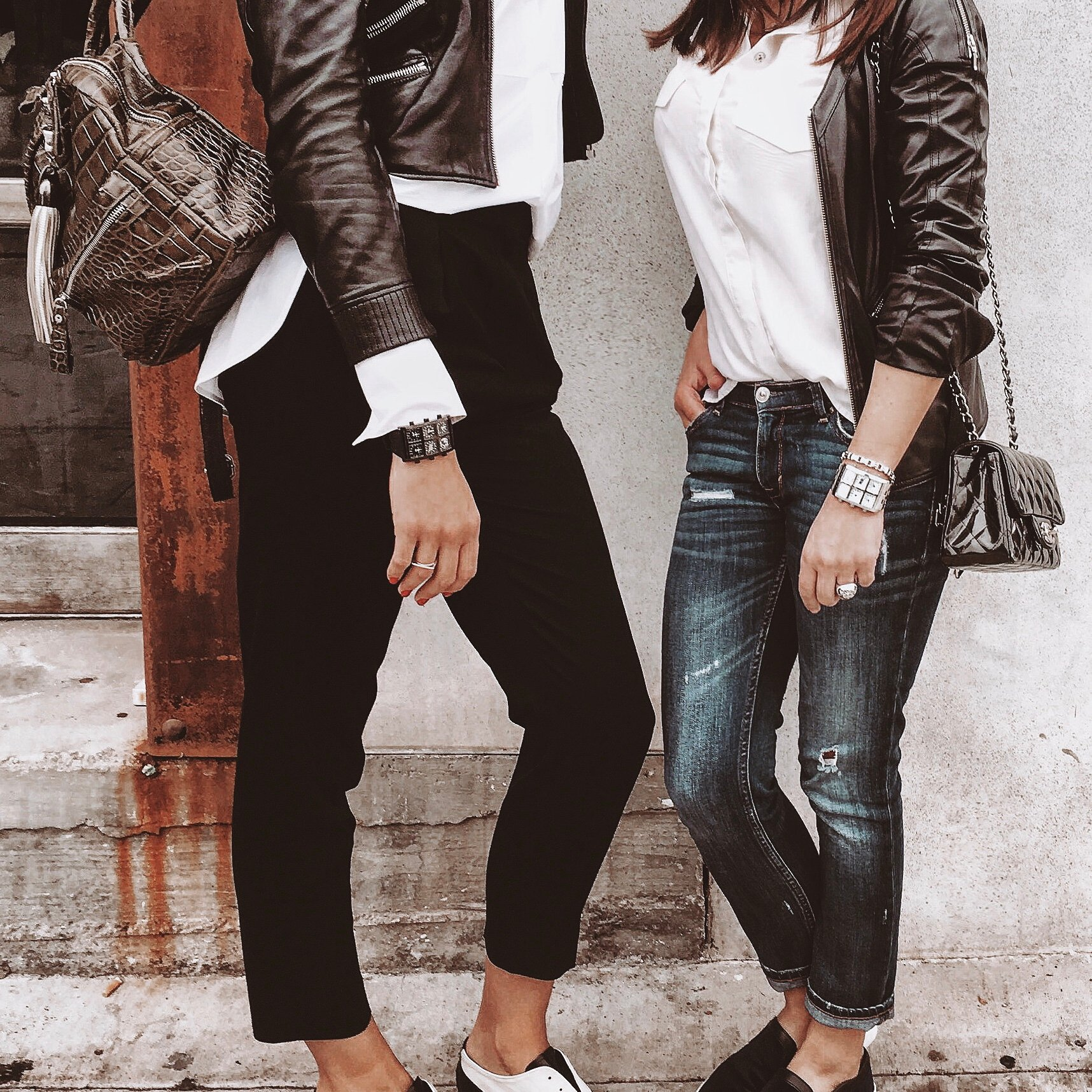 Two woman wearing Sable Metal 40mm Multi-Time Zone Watch - IceLink