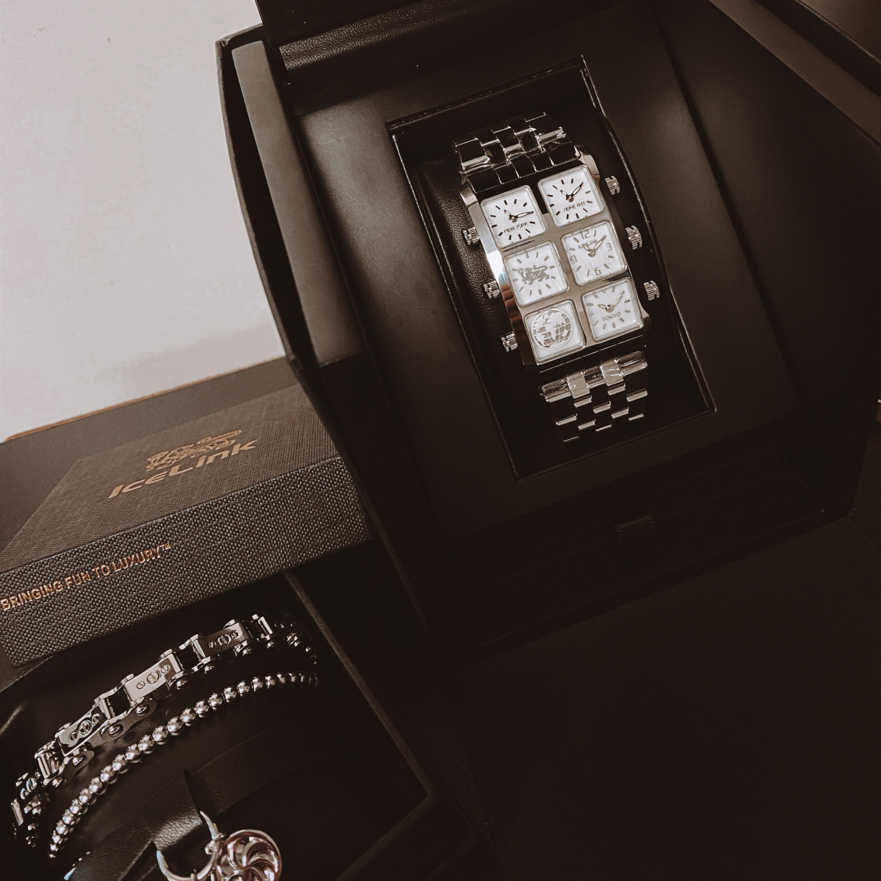 Zuri Metal 40mm Multi-Time Zone Watch in gift box