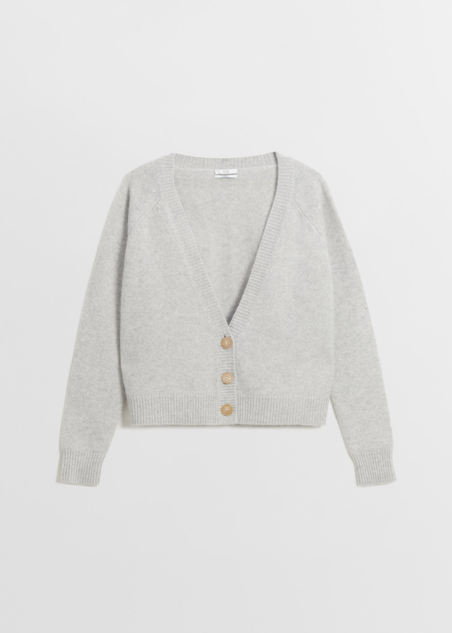CO - Cropped Cardigan in Boiled Cashmere - Light Grey