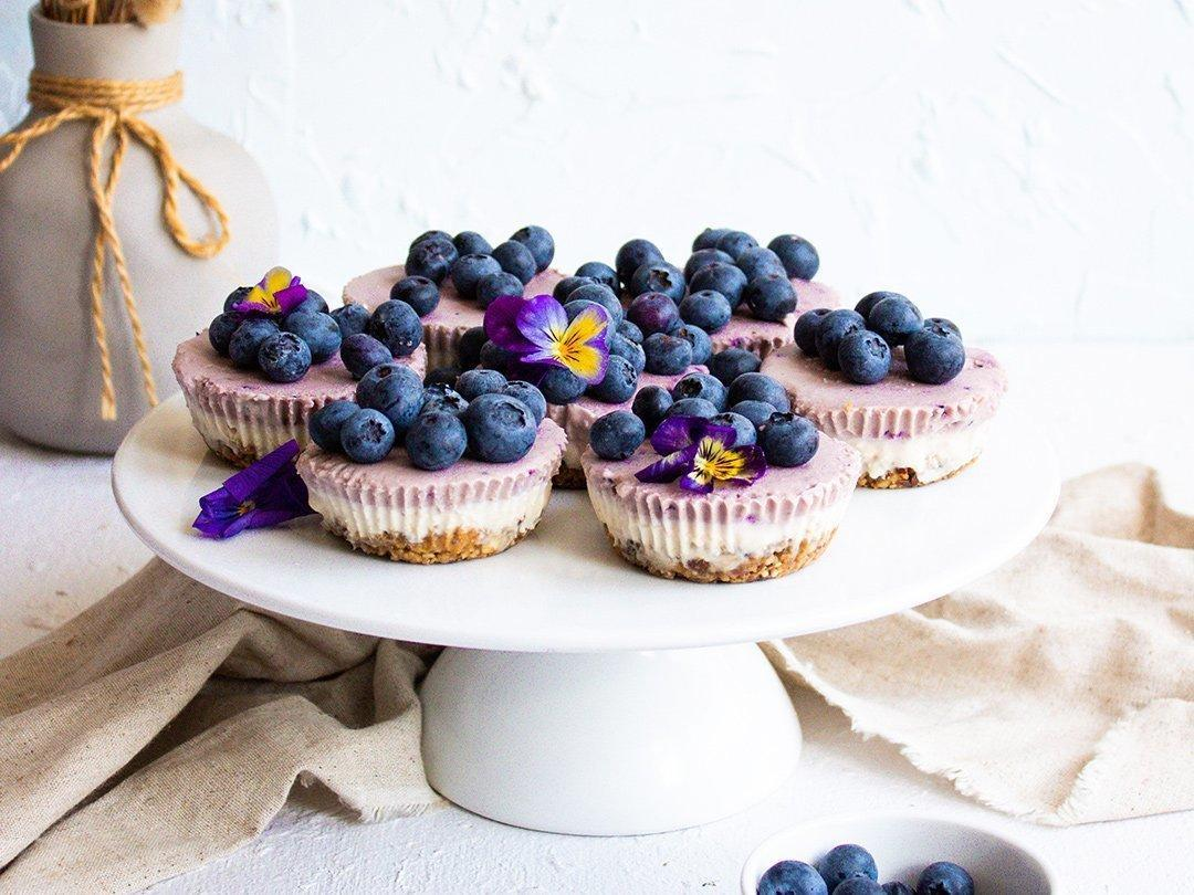 Raw Blueberry Cheesecakes