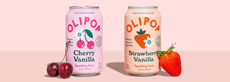 Can of Cherry Vanilla and Strawberry Vanilla OLIPOP