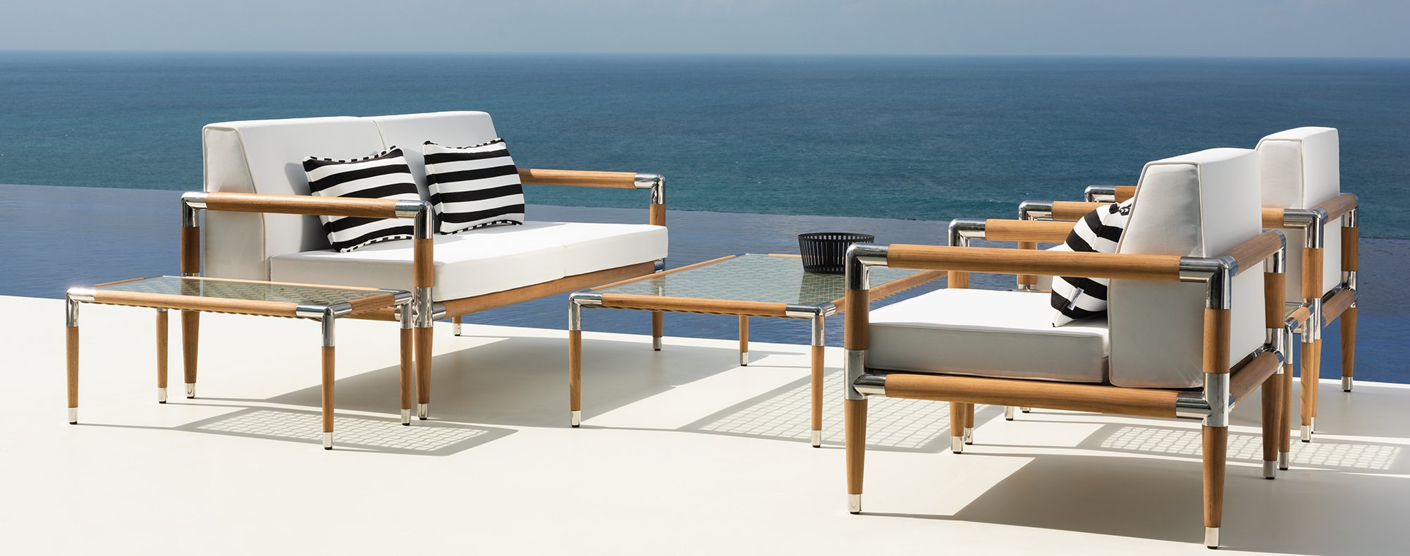 Marina Teak Luxury Sofa Collection with Luxury Outdoor Scatter Cushions.