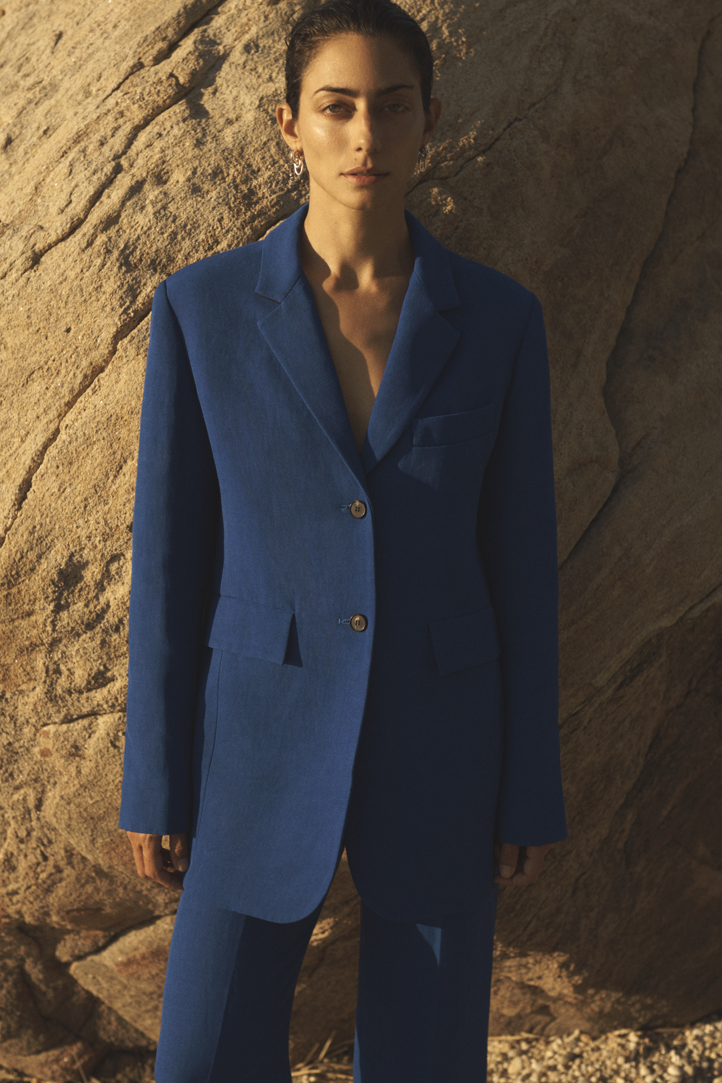 Single Breasted Jacket In Viscose Linen - Cobalt - by Zoe Gherter for Co