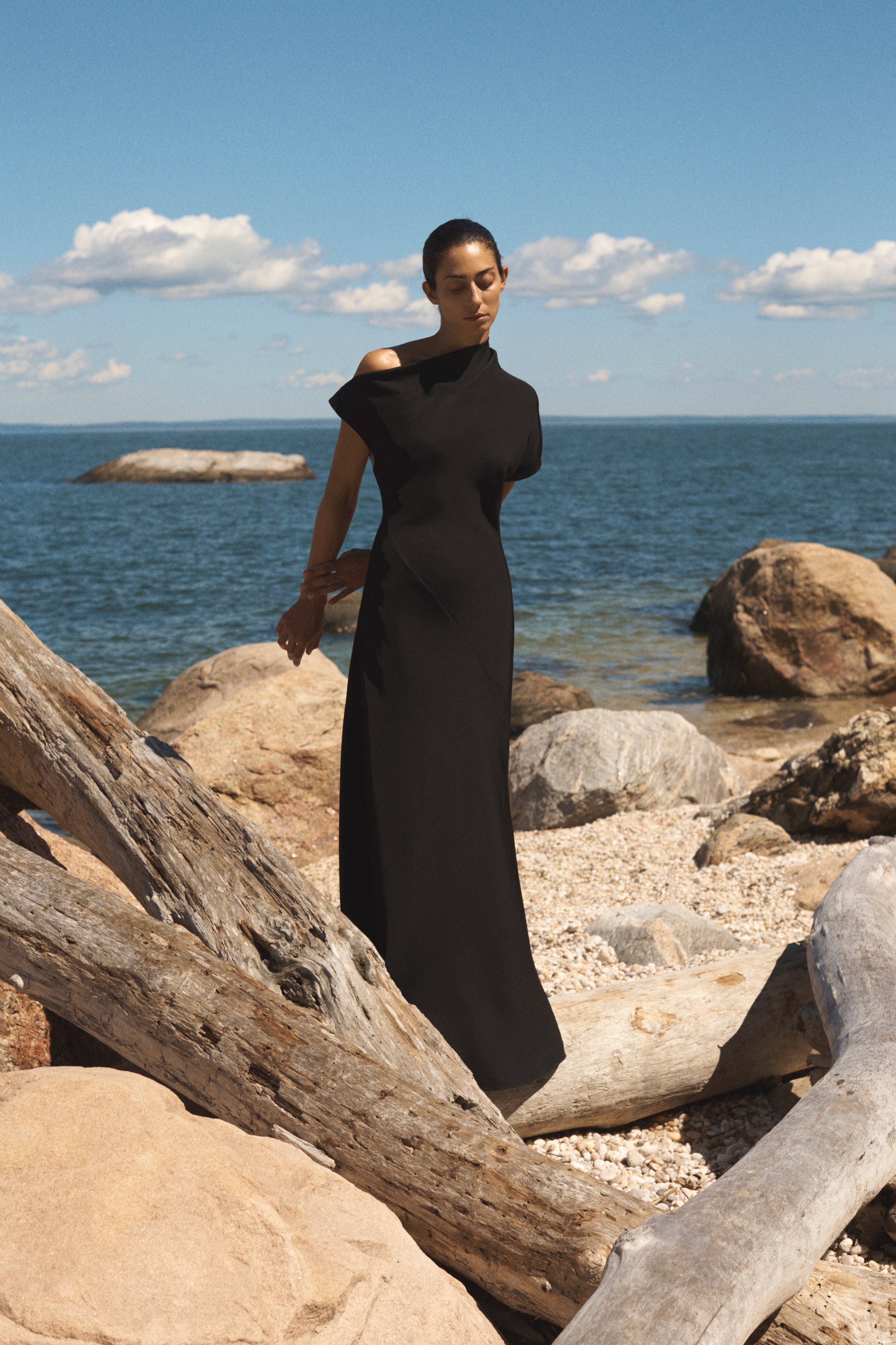 Bias Cut Gown In Viscose Twill - Black - by Zoe Gherter for Co