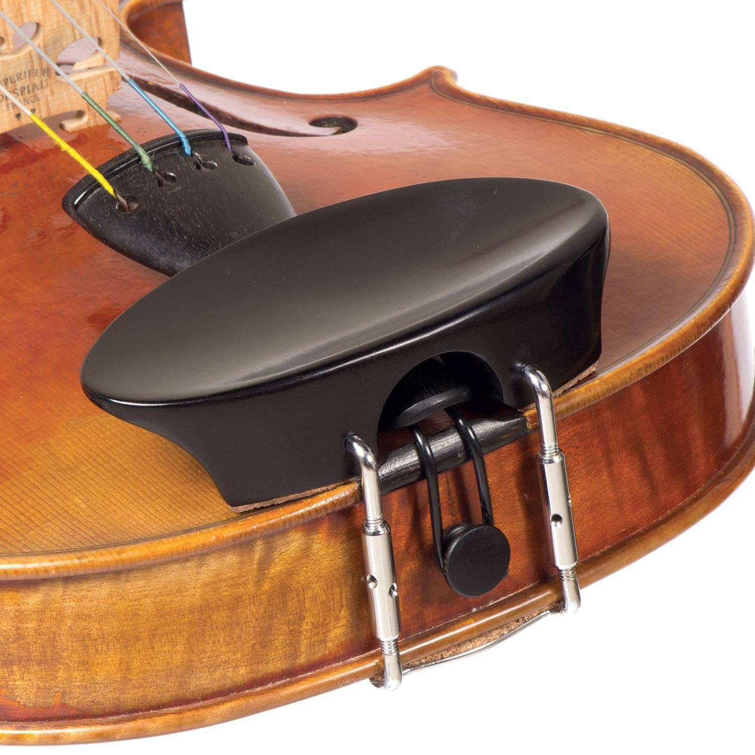 Ebony Flesch Violin Chinrest - Center Mount in action