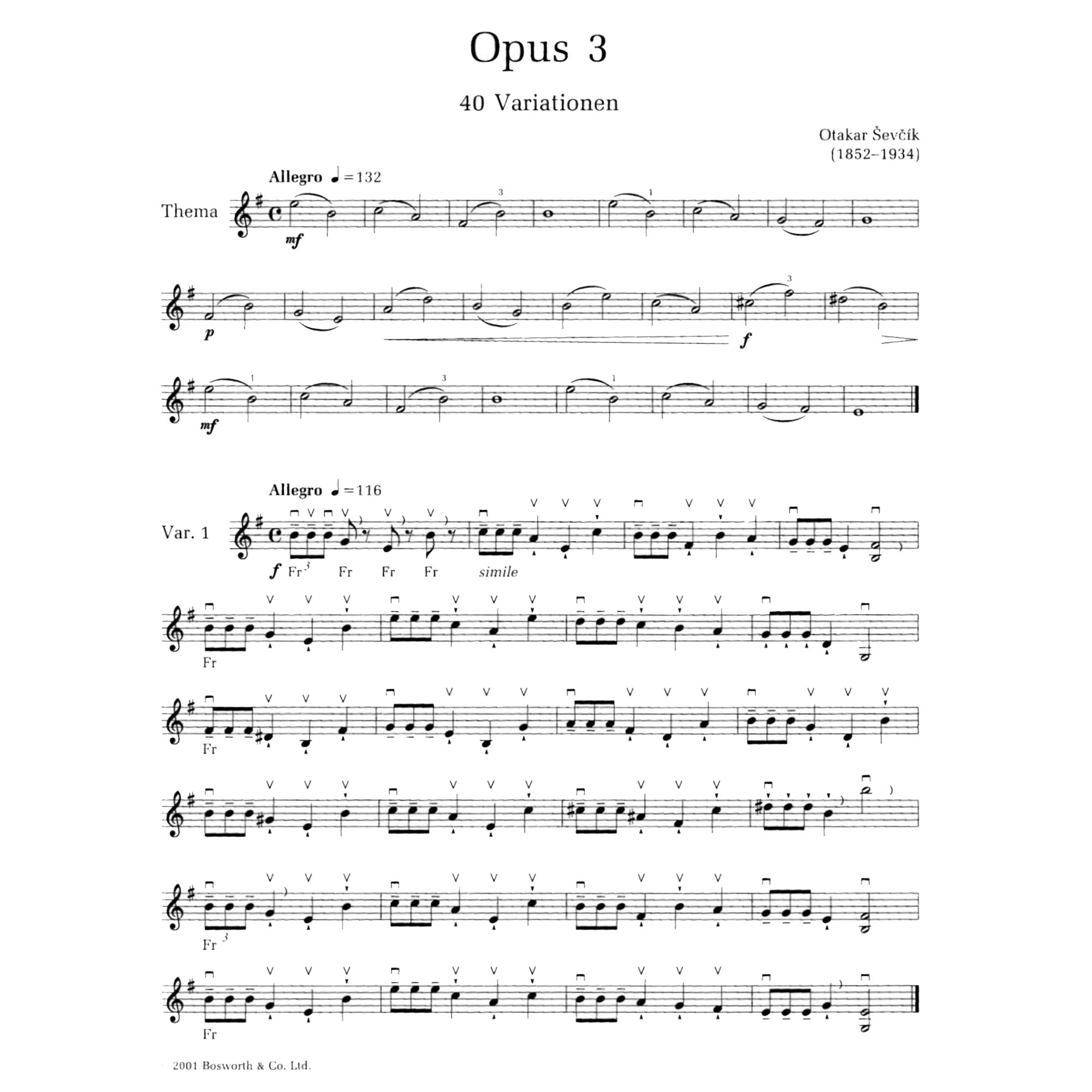 Ševčík Violin Studies Op. 3, 40 Variations in action