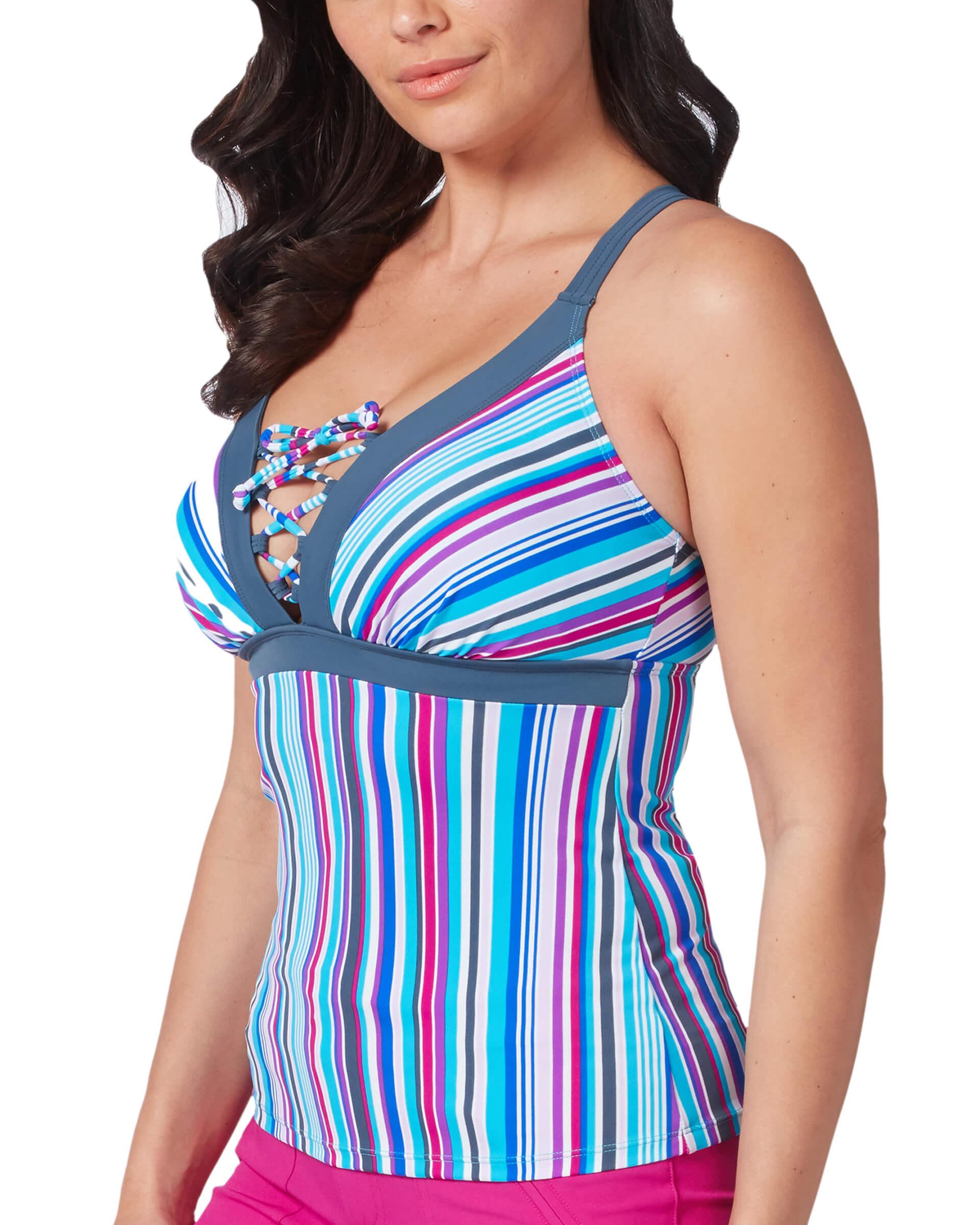 Women's Cabana Stripe Lace-up Tankini Top