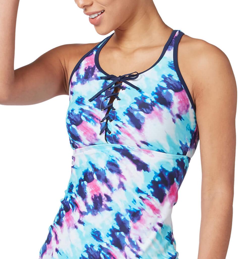 Women's Coastal Tie Dye Lace Up Racerback Tankini Top