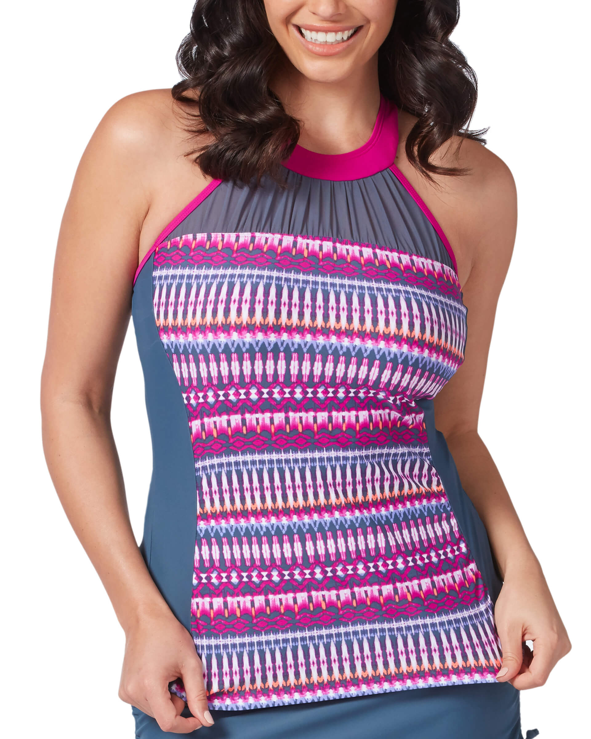 Women's Beach Batik Mesh High Neck Tankini Top