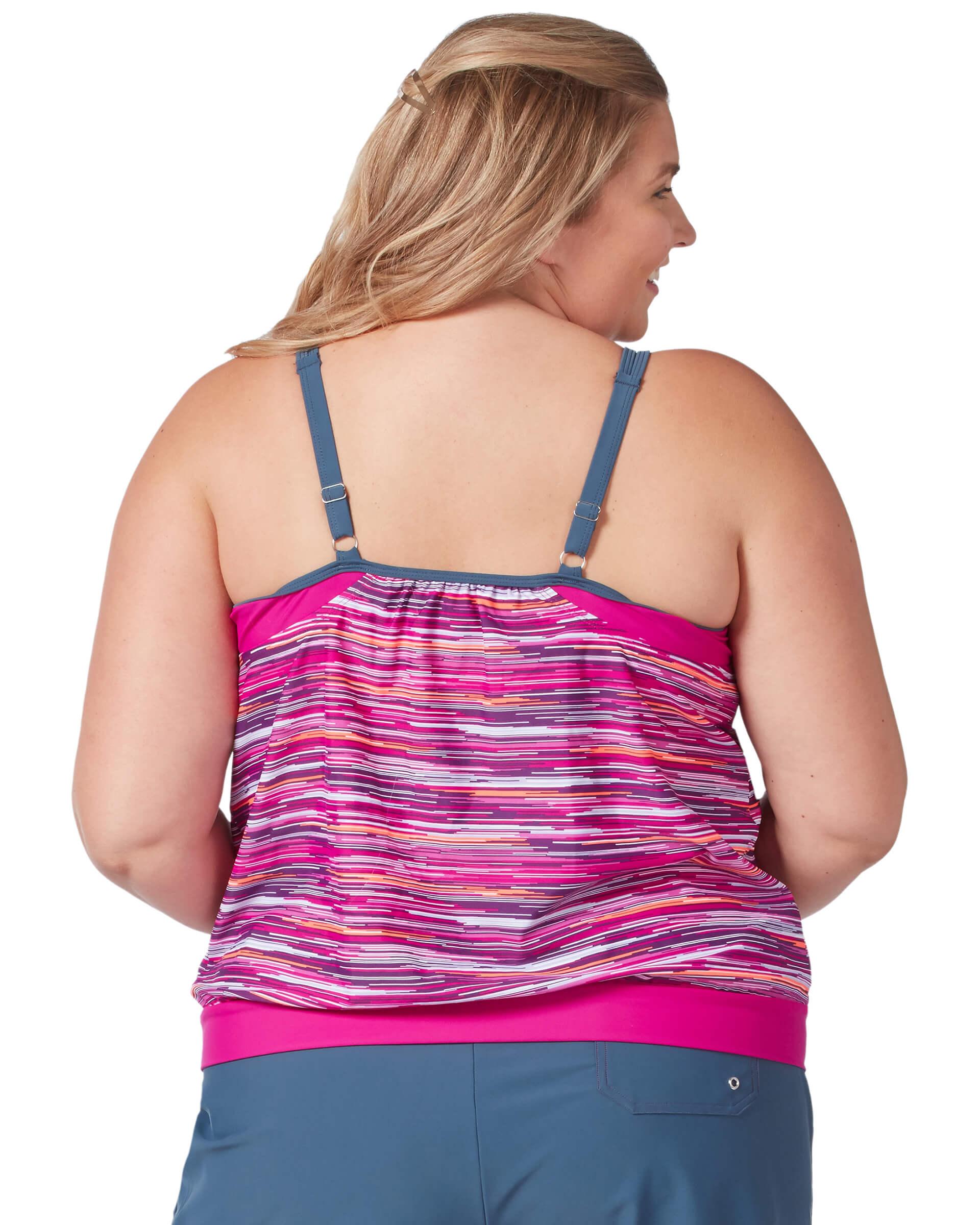 Women's Plus Size Light Rays Blouson Tankini Top