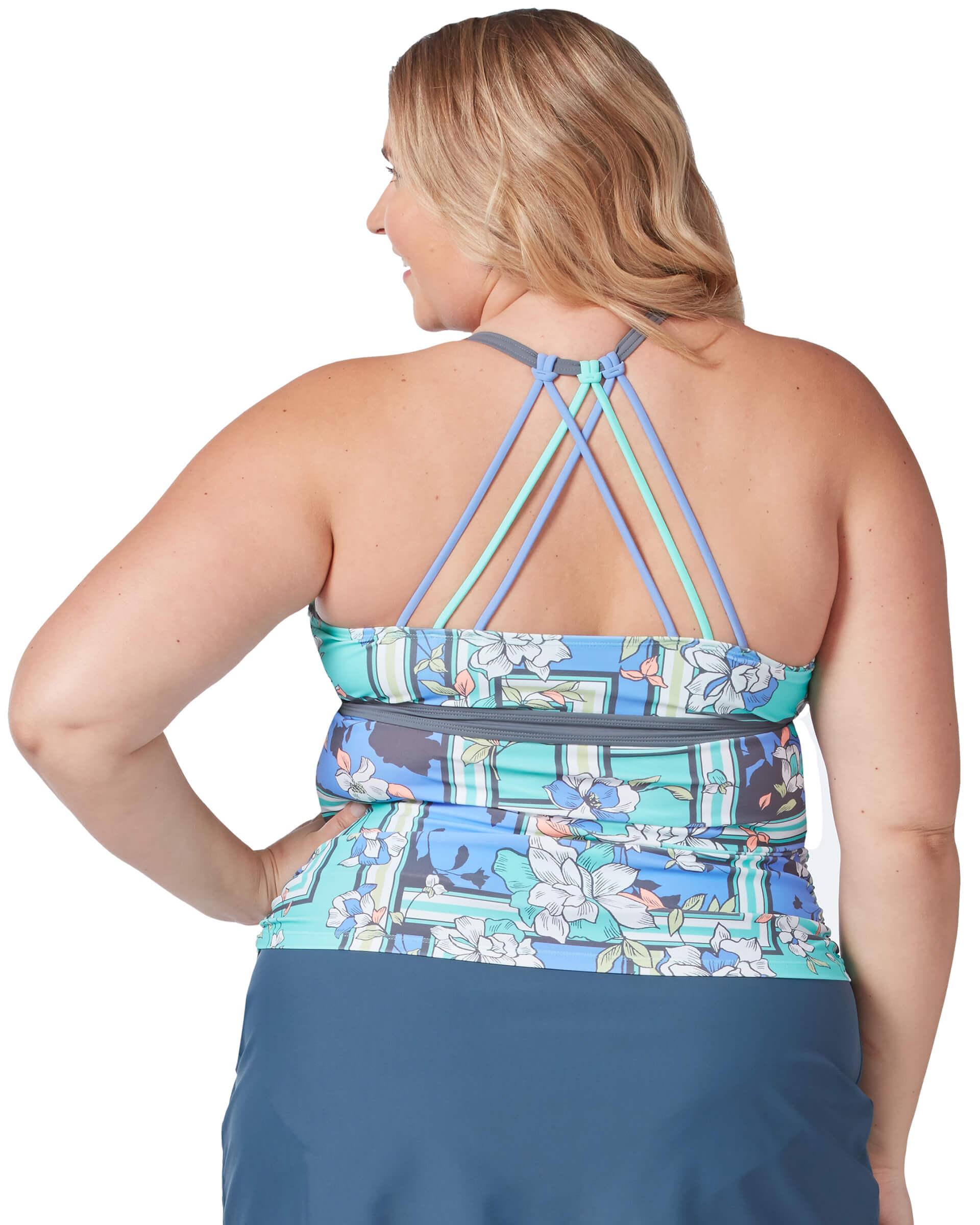 Women's Plus Size Floral Sarong Triple Strap Tankini Top