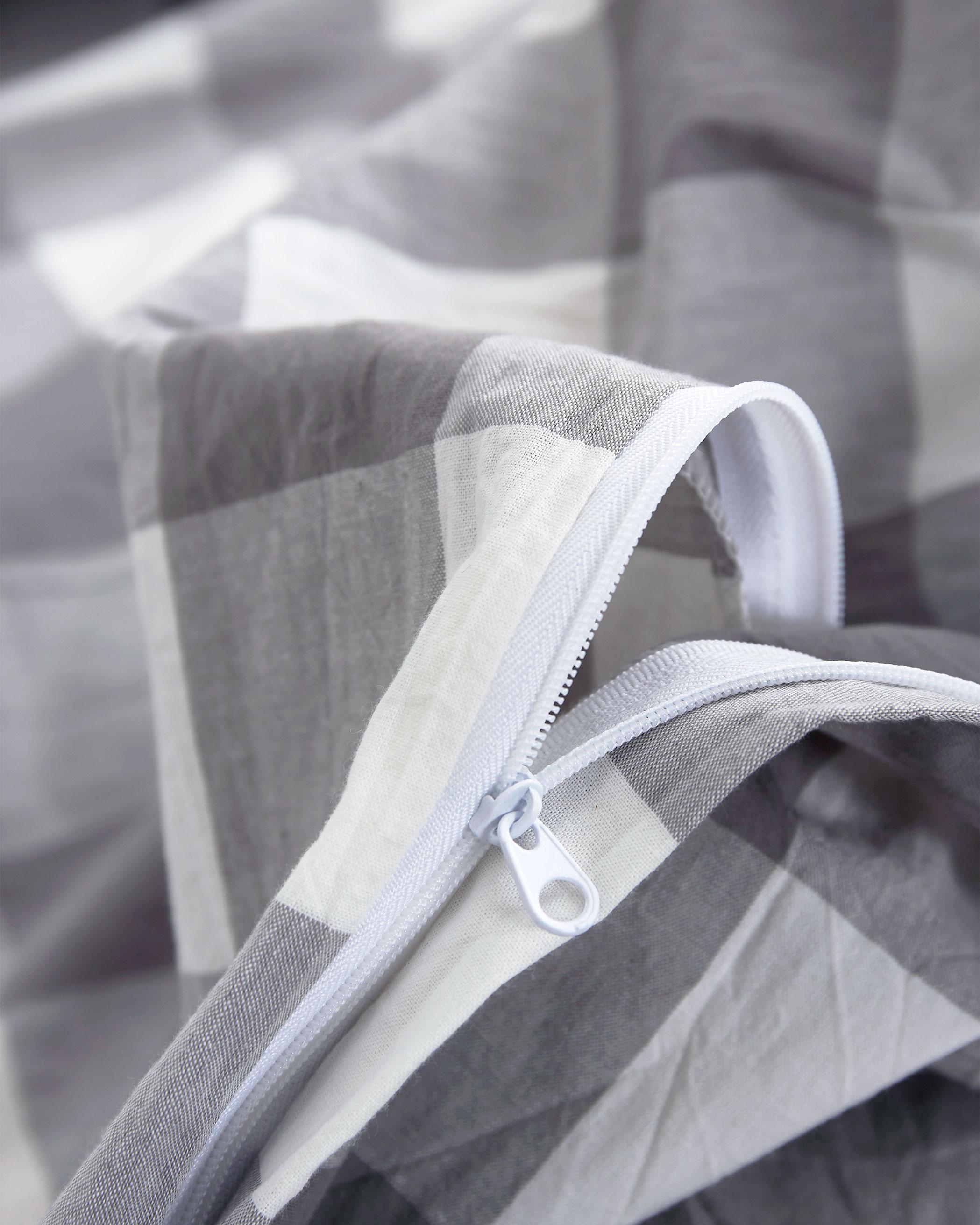 Gray Buffalo Check Washed Cotton Duvet Cover Set