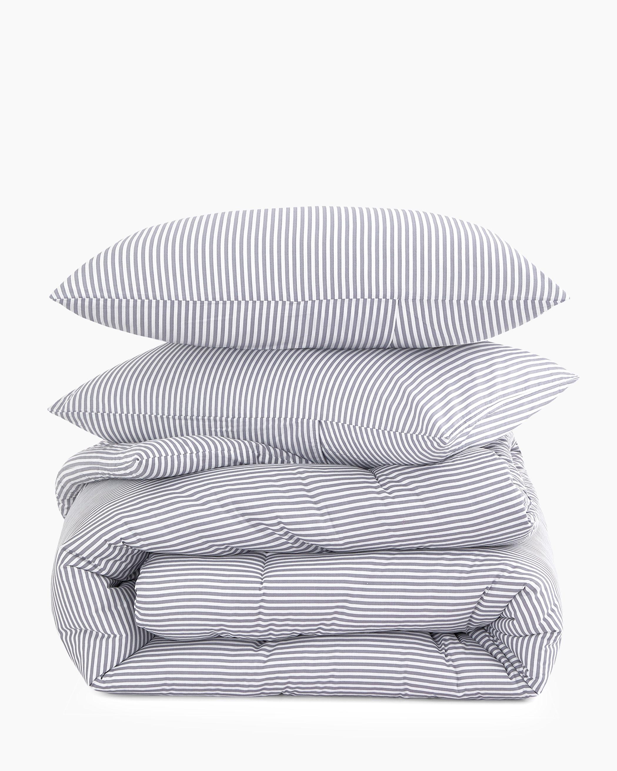 Gray Striped Cotton Comforter Set