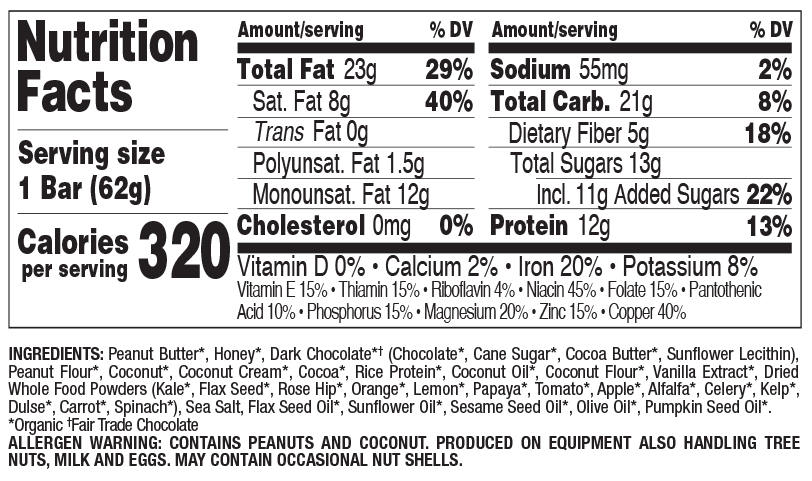 Dark Chocolate Chip Coconut nutritional information