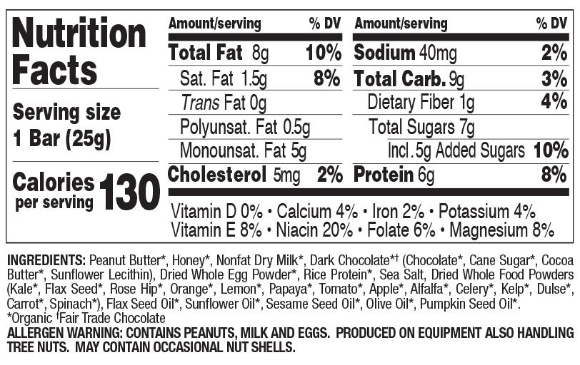 Dark Chocolate Chip Peanut Butter Snack Size nutritional information