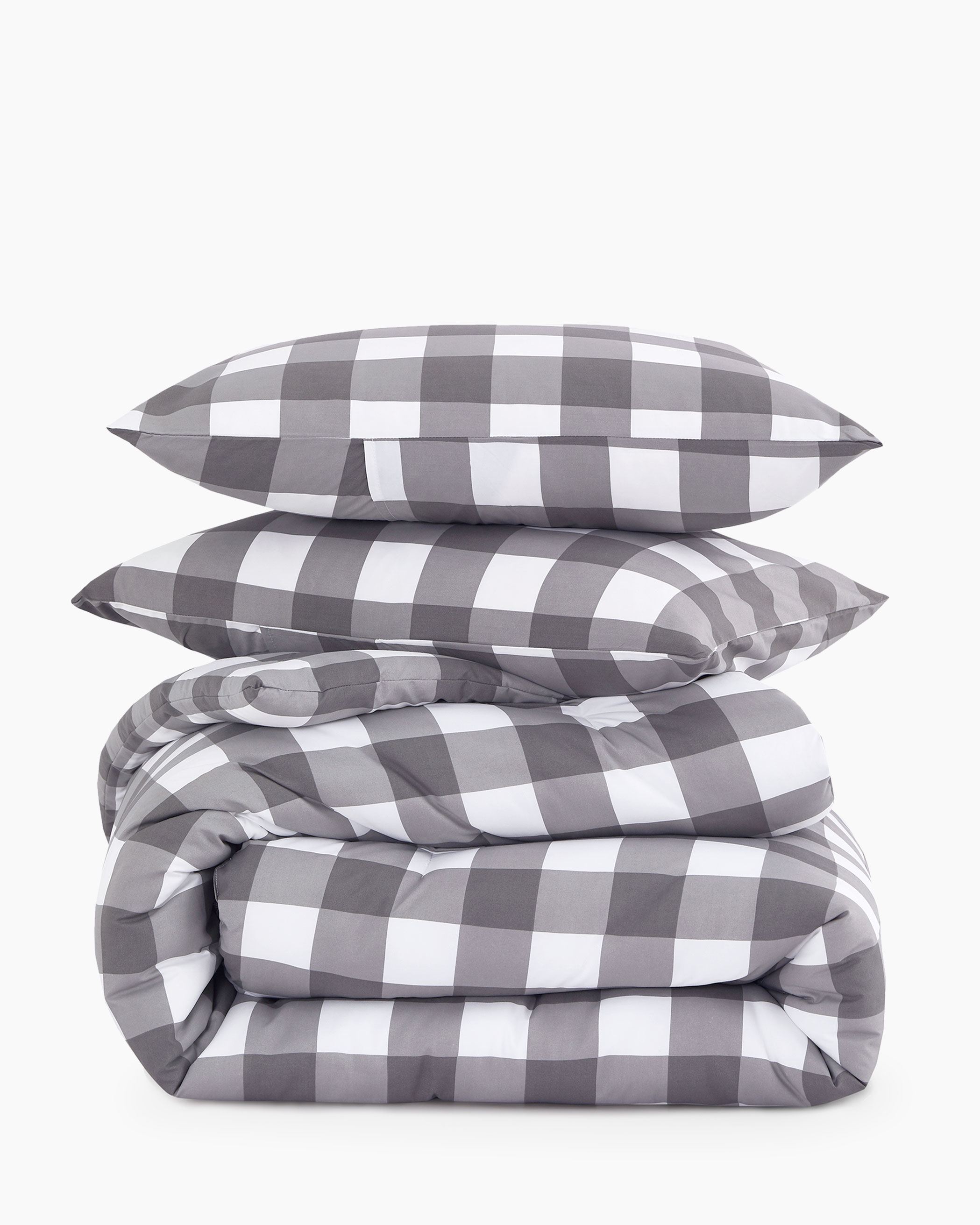 Gray Buffalo Check Microfiber Comforter Set