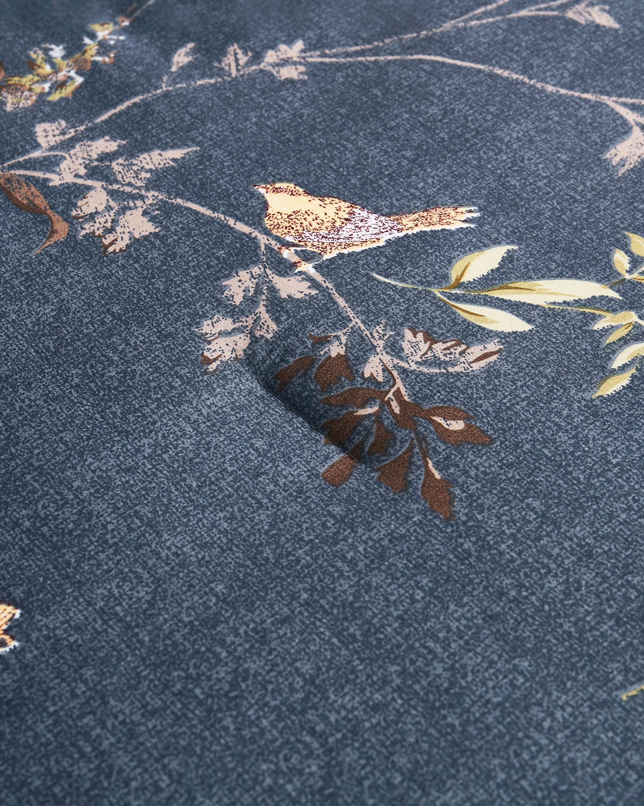 Gray Birds Floral Microfiber Comforter Set