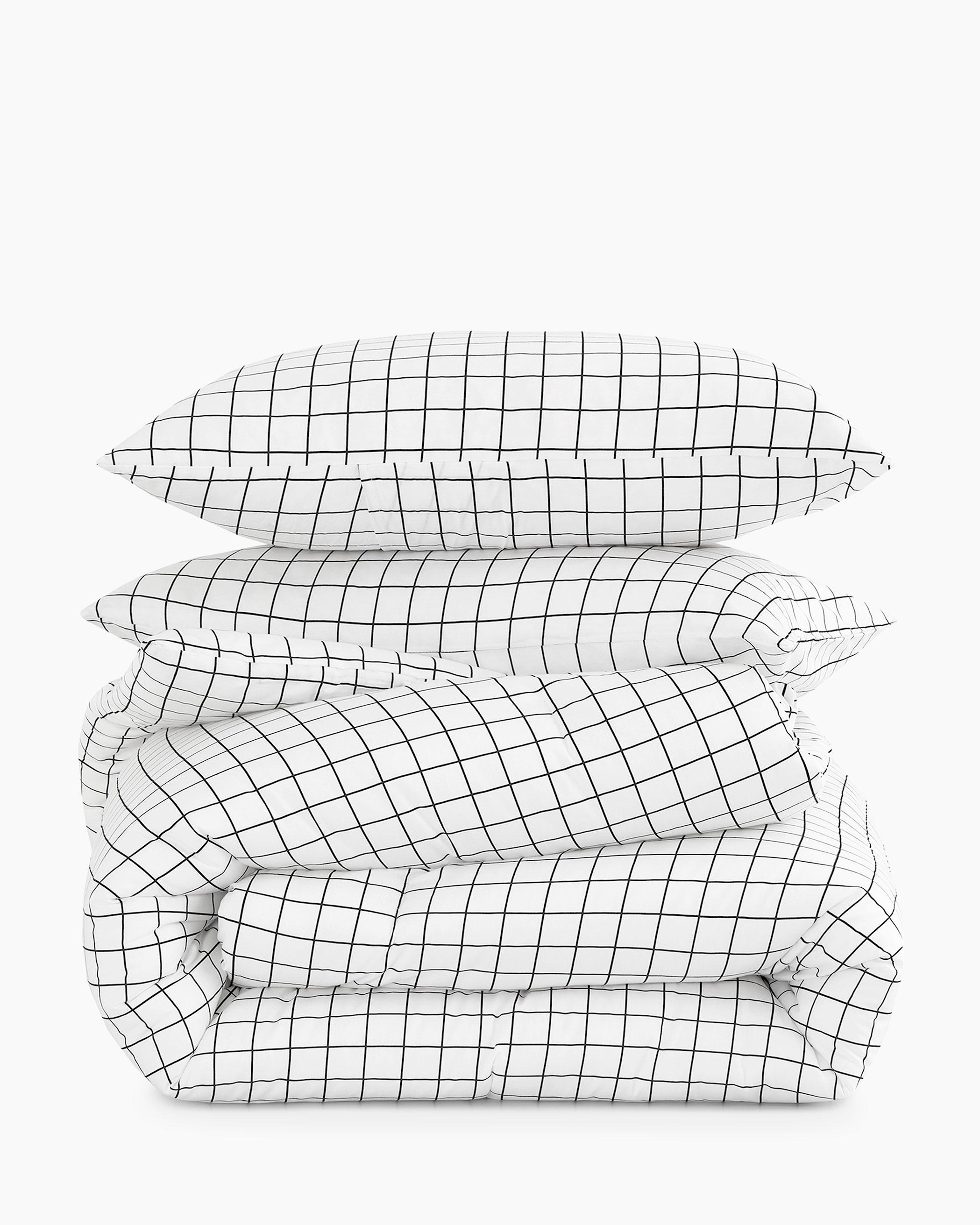 White Grid Cotton Comforter Set