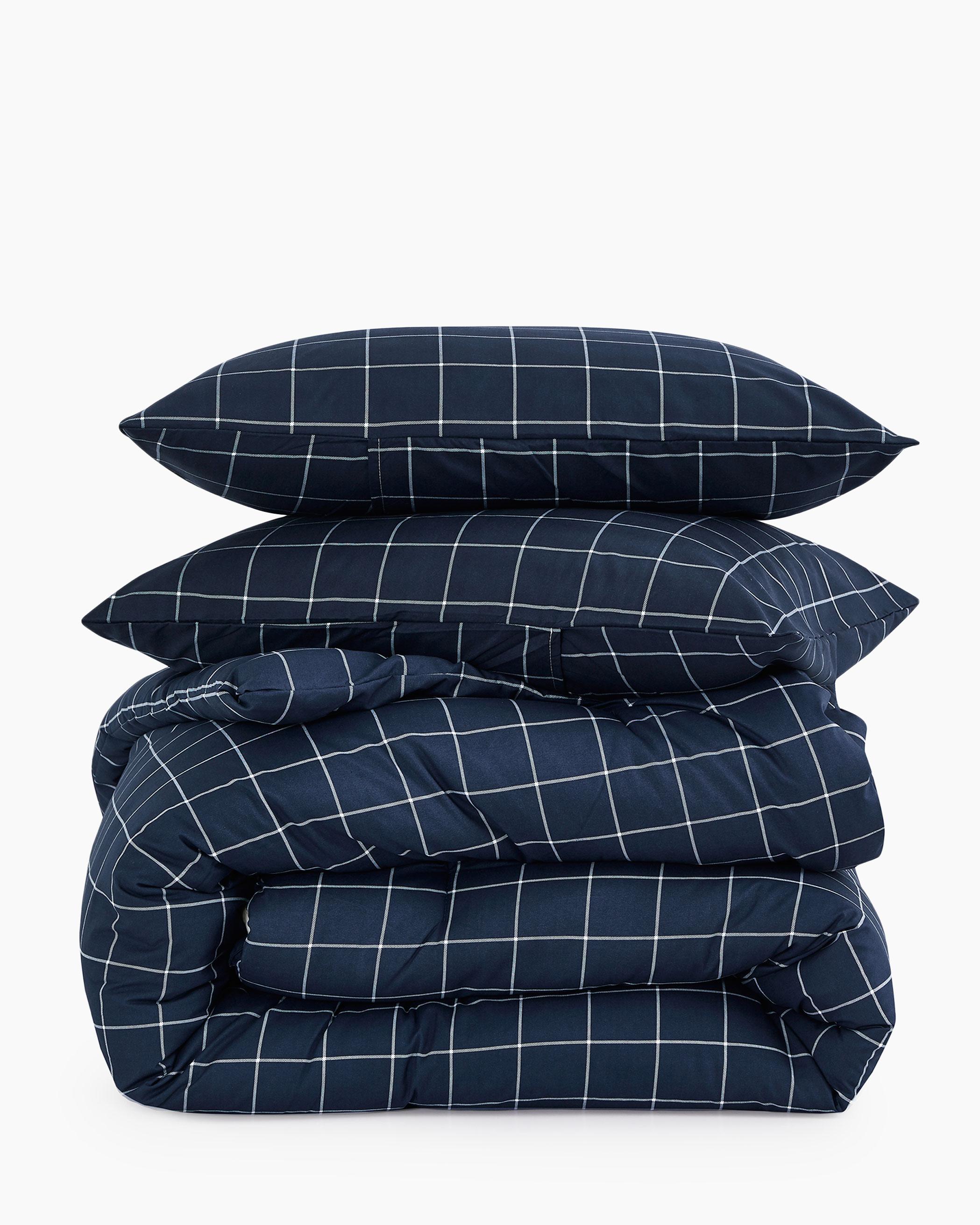 Navy Grid Microfiber Comforter Set