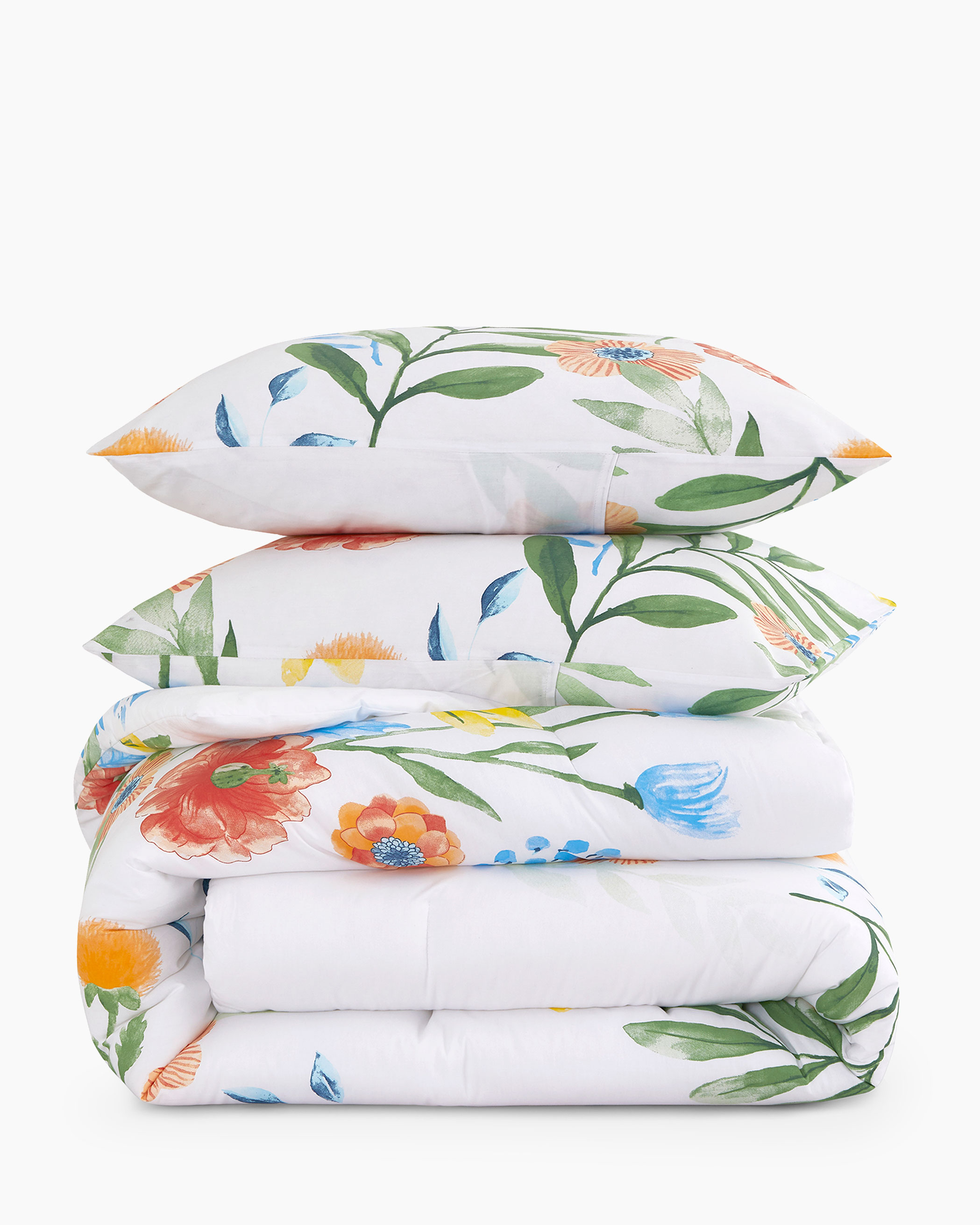 Watercolor Floral Cotton Comforter Set