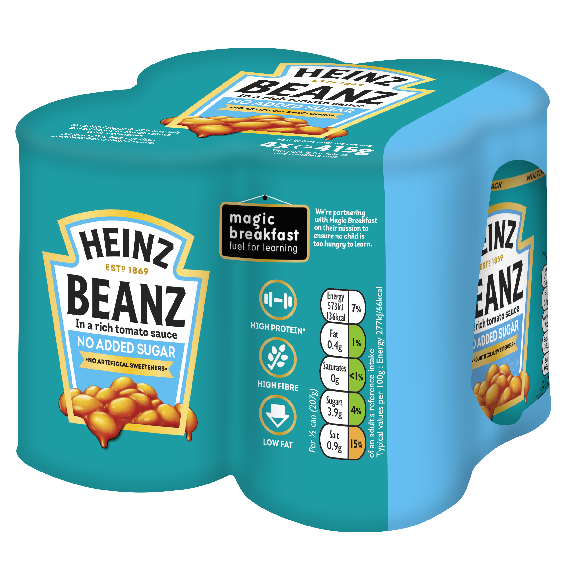Photograph of 6 x 4 pack of 415g Heinz No Added Sugar Beanz product