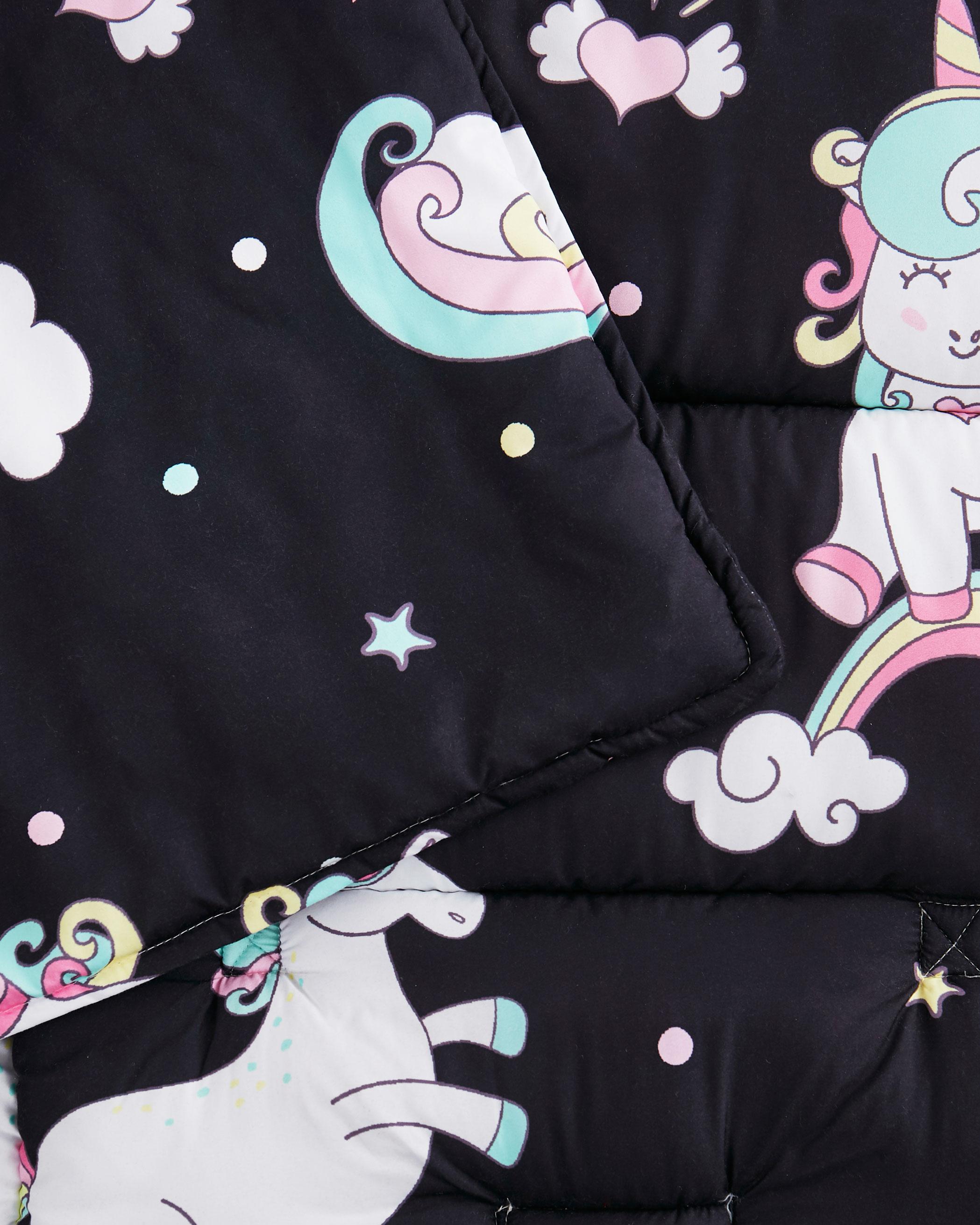 Black Unicorn Microfiber Kids Nap Mat