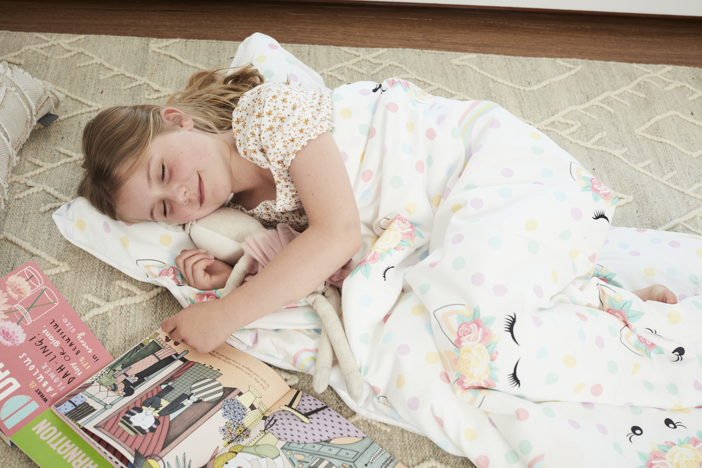 Polka Dot Unicorn Microfiber Kids Nap Mat