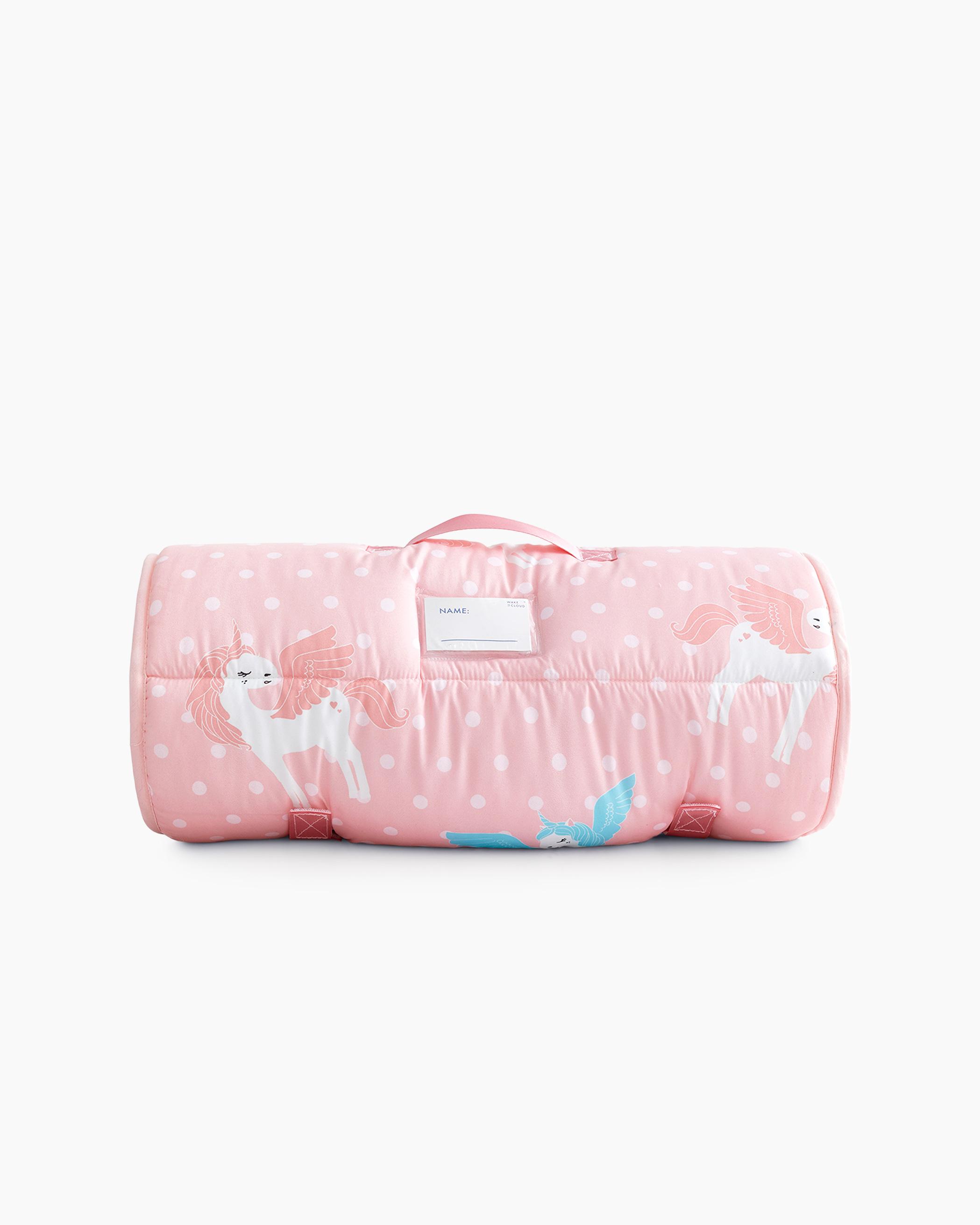 Pink Polka Dot Unicorn Microfiber Kids Nap Mat