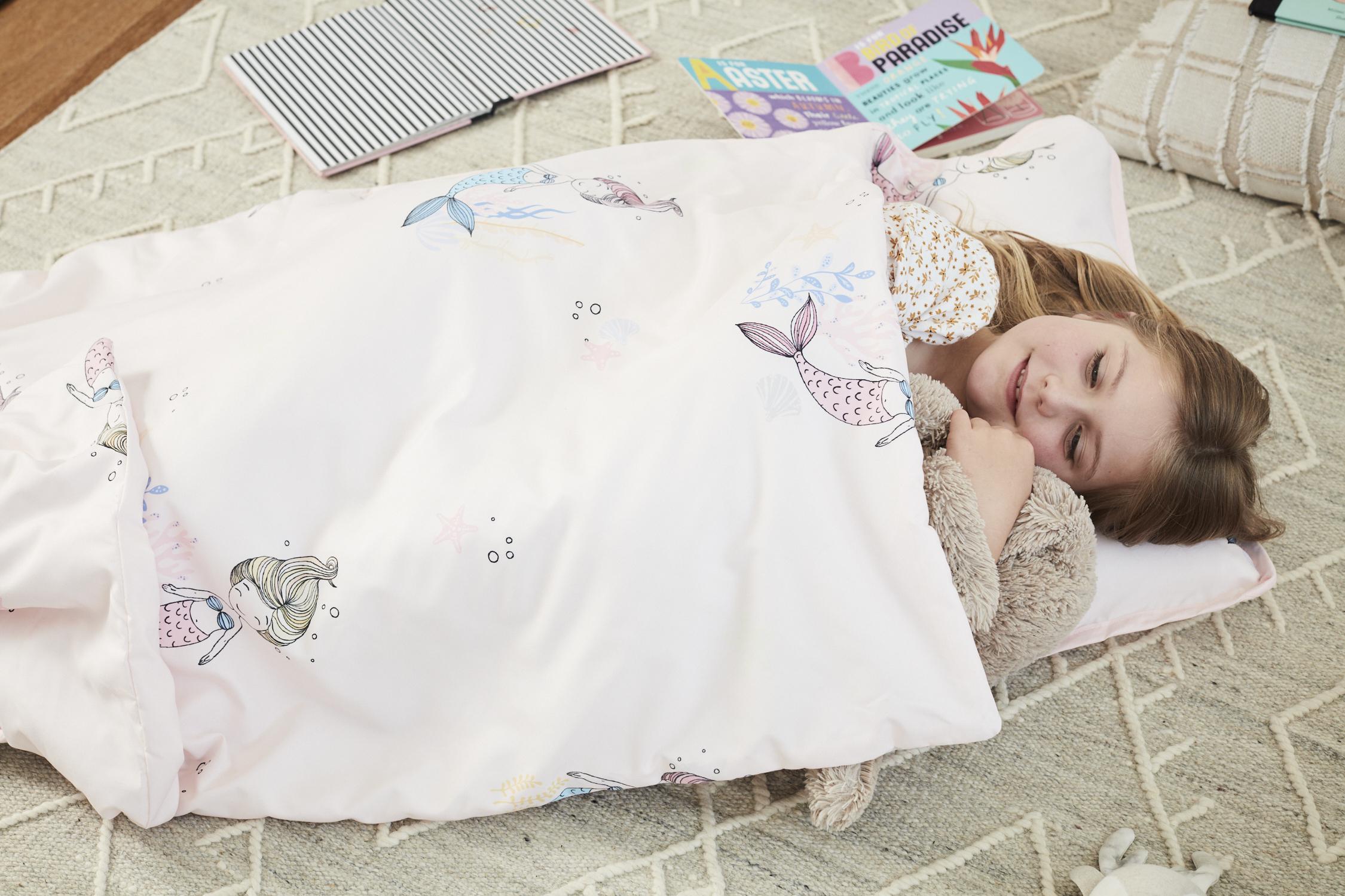 Light Pink Mermaid Microfiber Kids Nap Mat