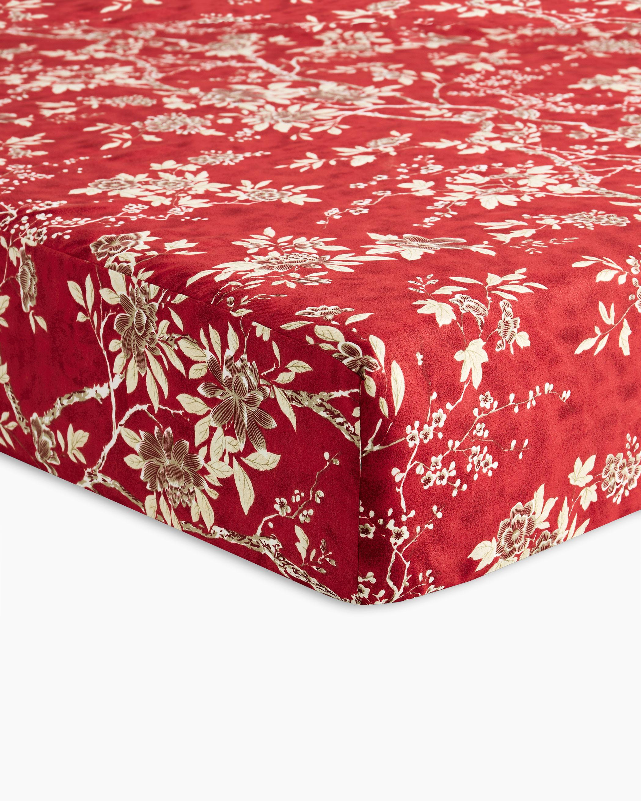 Red Floral Microfiber Sheet Set