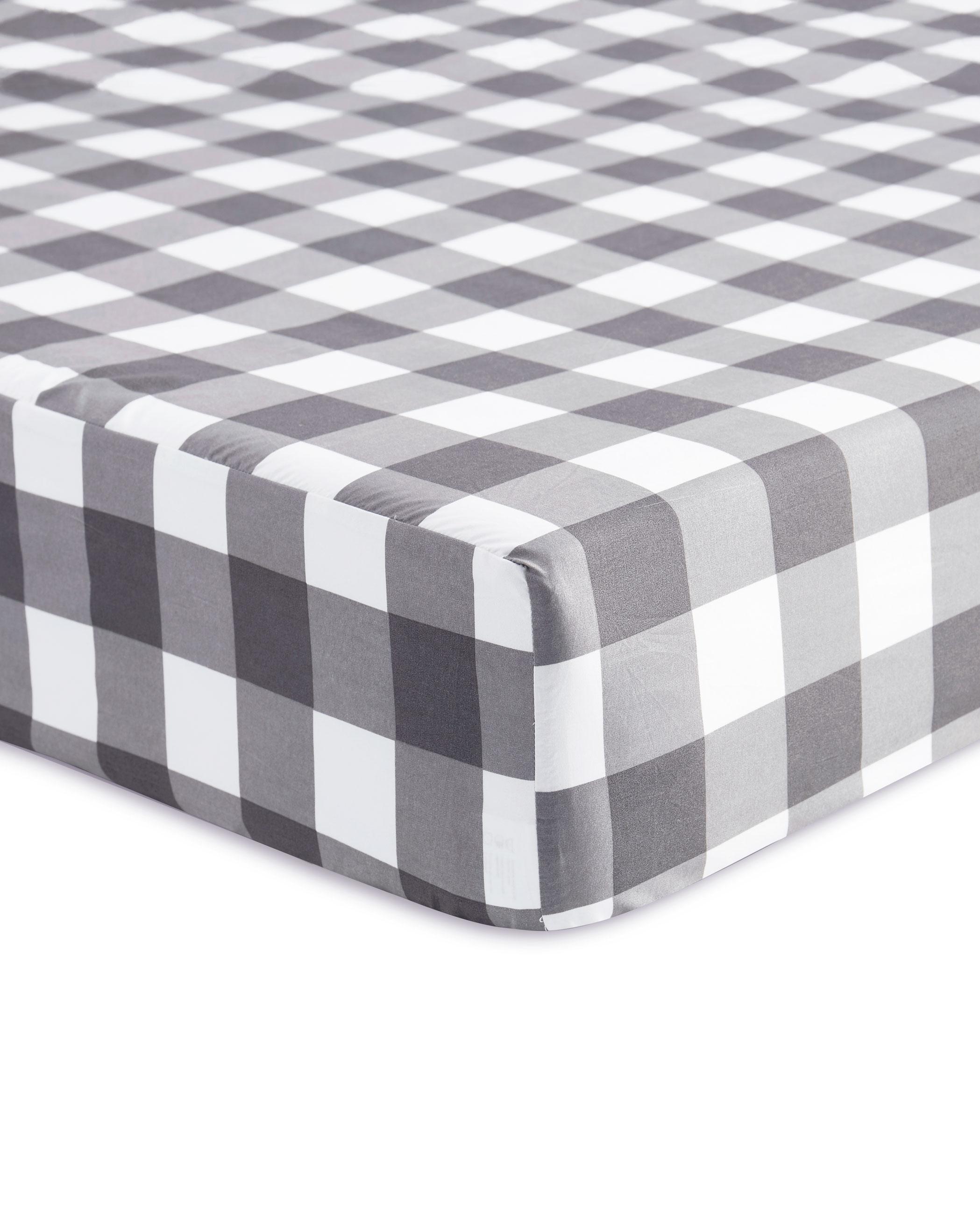Gray Buffalo Check Microfiber Sheet Set