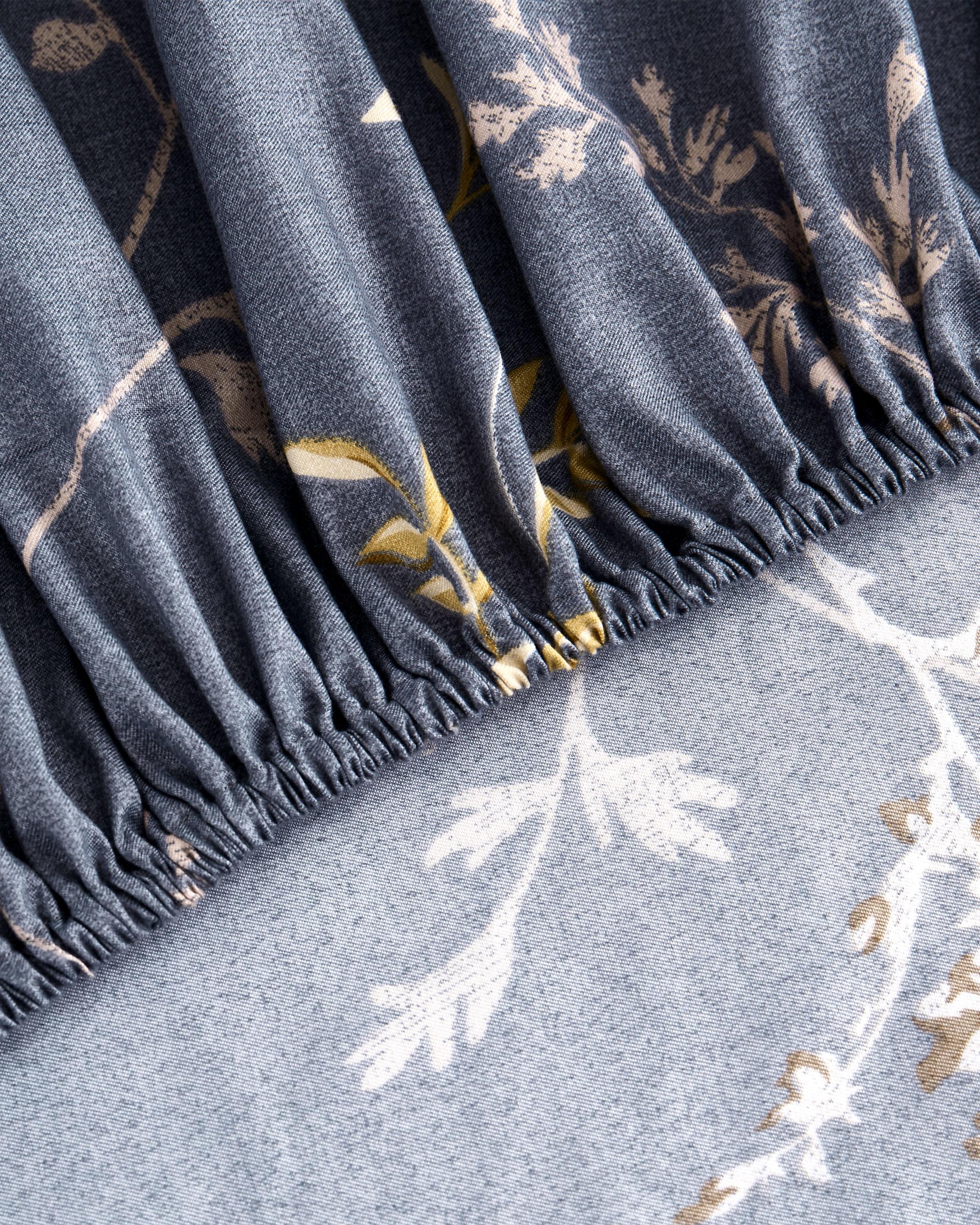 Gray Bird Floral Microfiber Sheet Set
