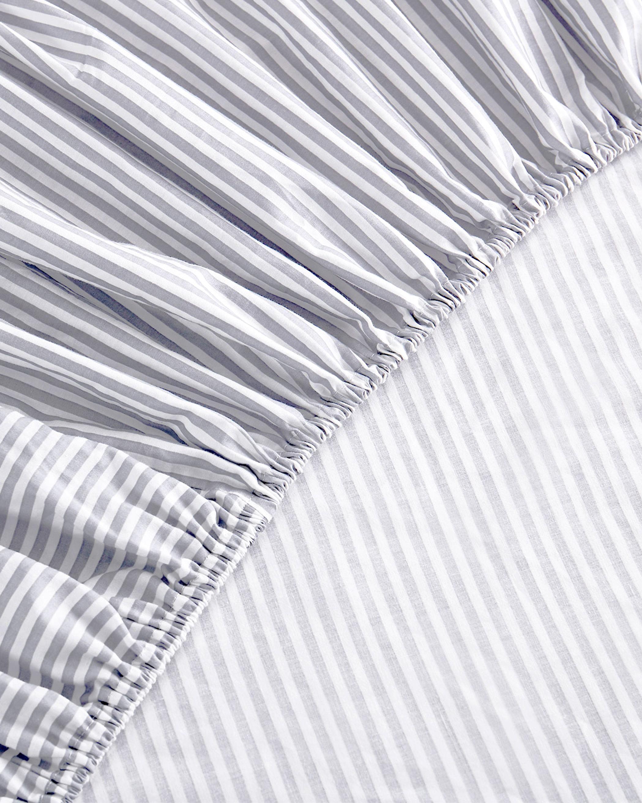 Gray Striped Cotton Sheet Set