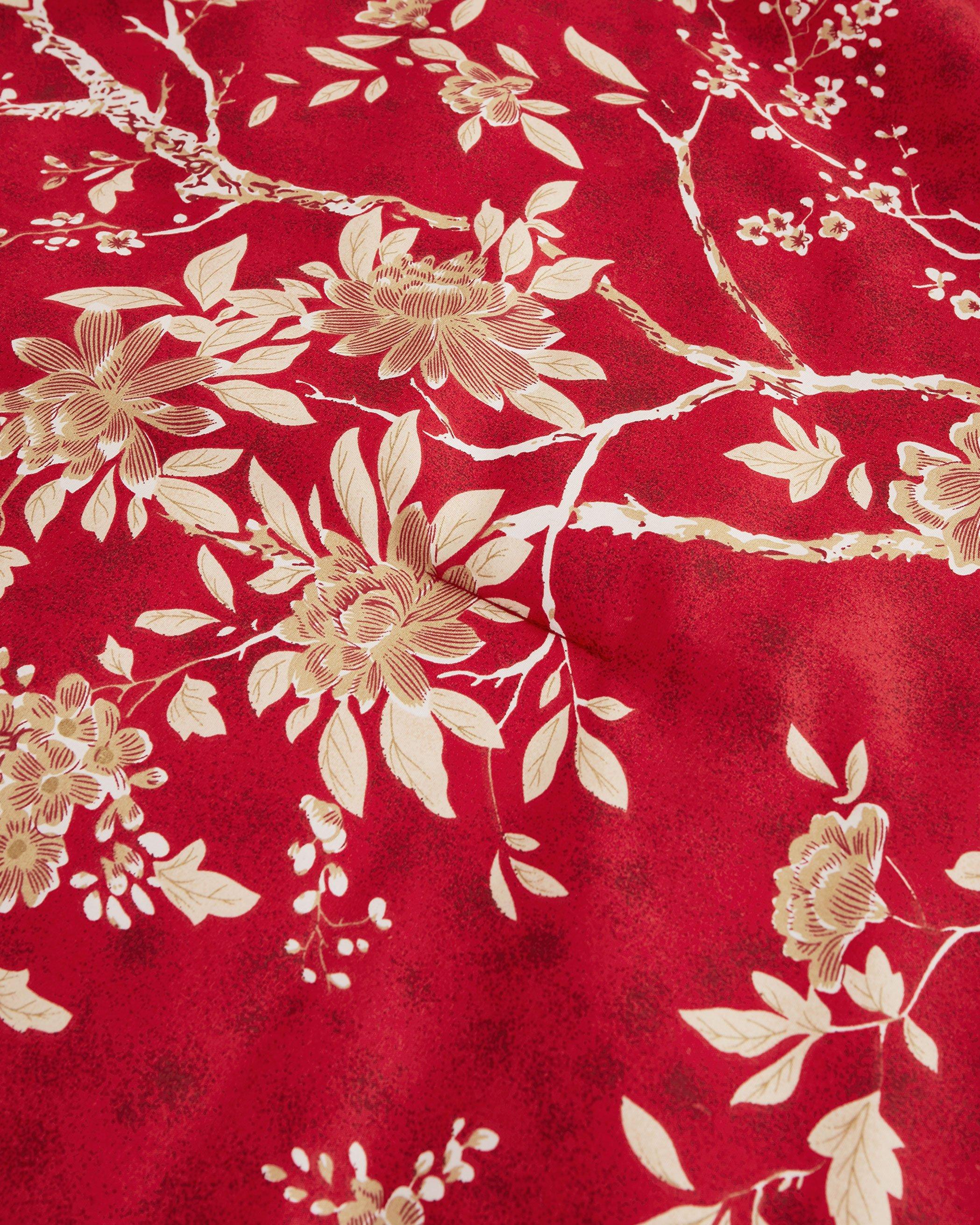 Red Floral Microfiber Comforter Set
