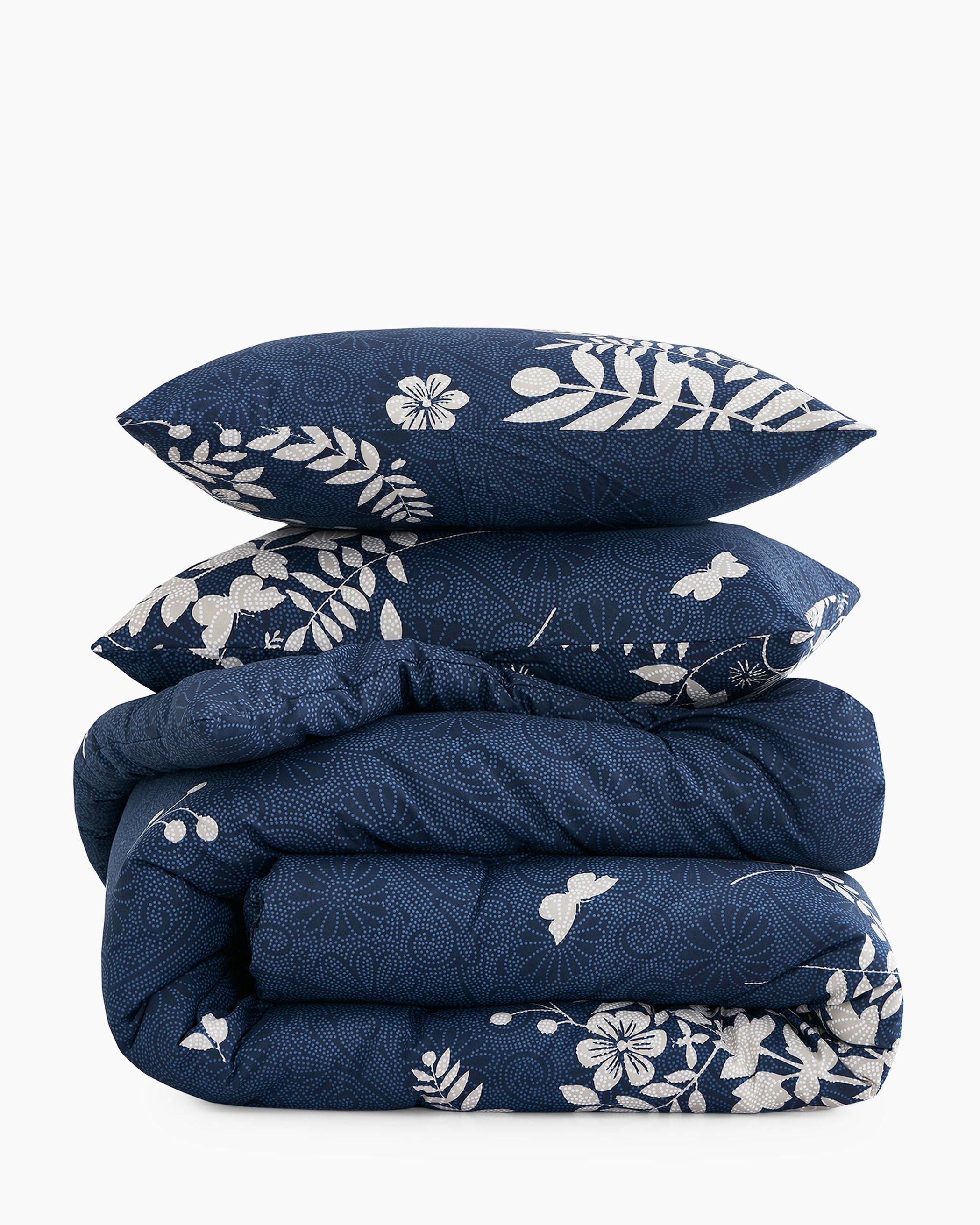 Navy Blue Floral Microfiber Comforter Set