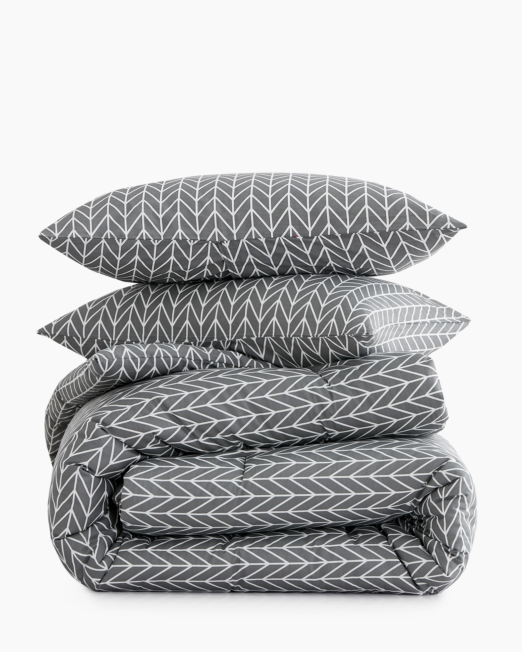 Gray Chevron Cotton Comforter Set