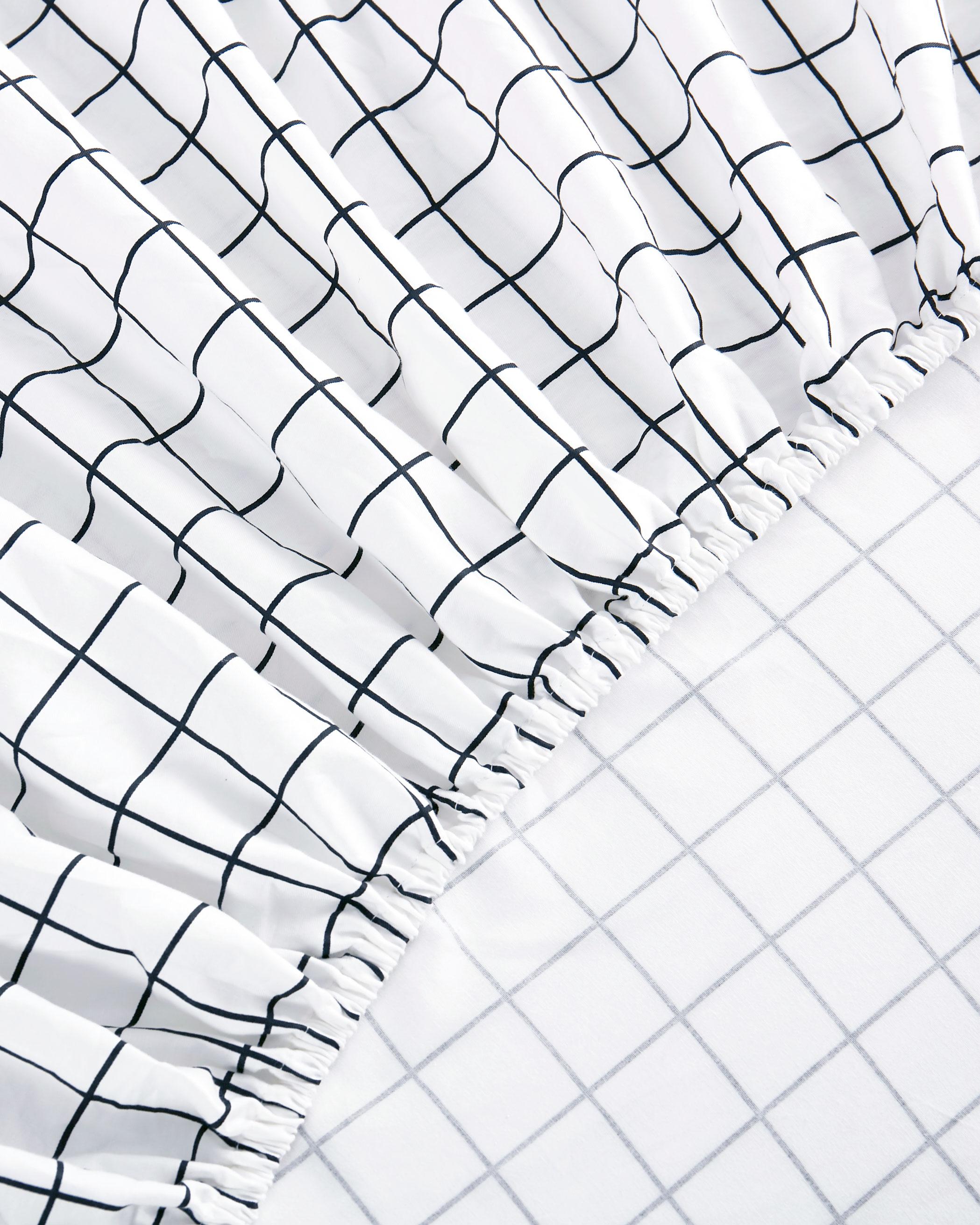 White Grid Cotton Sheet Set