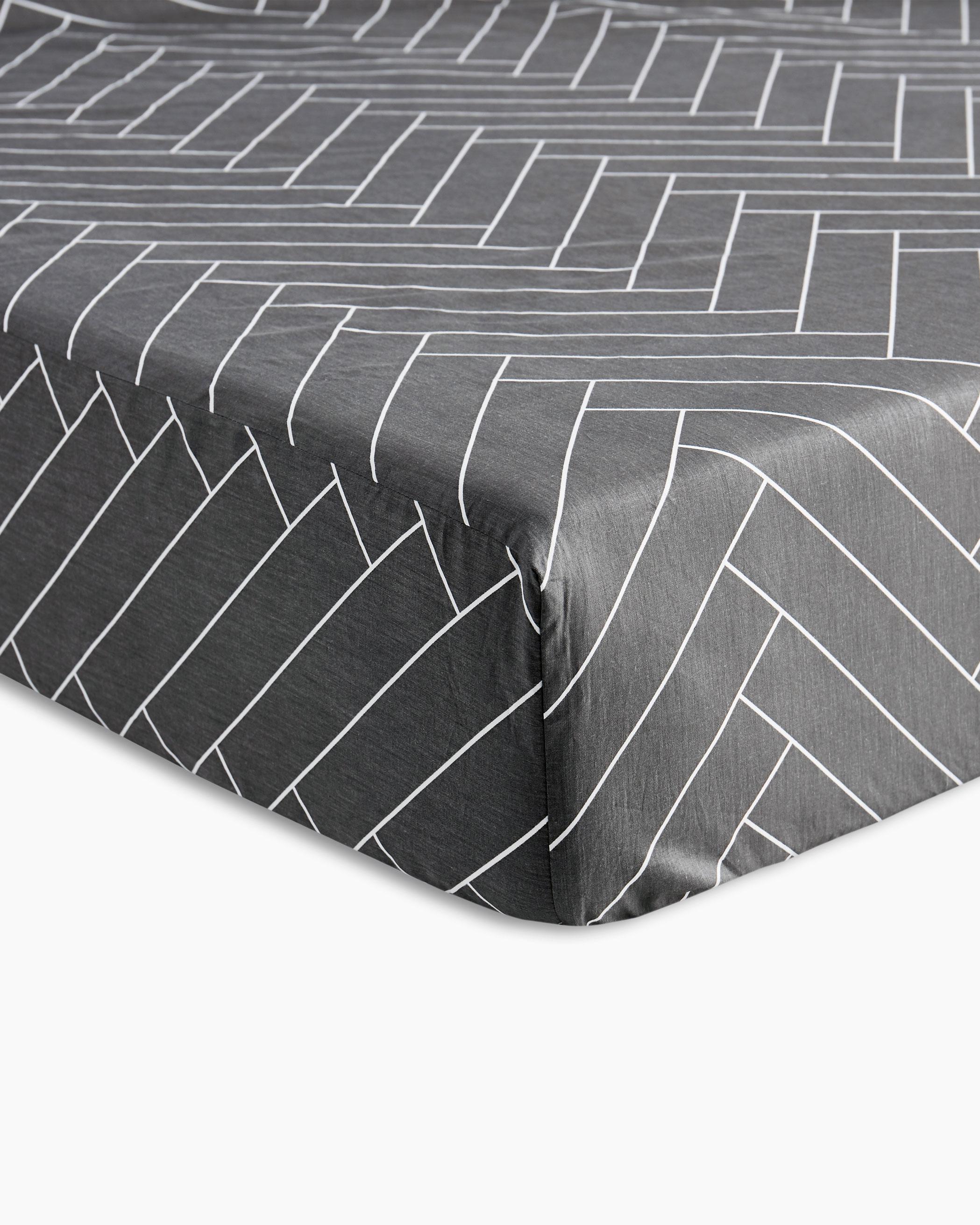 Gray Herringbone Cotton Sheet Set