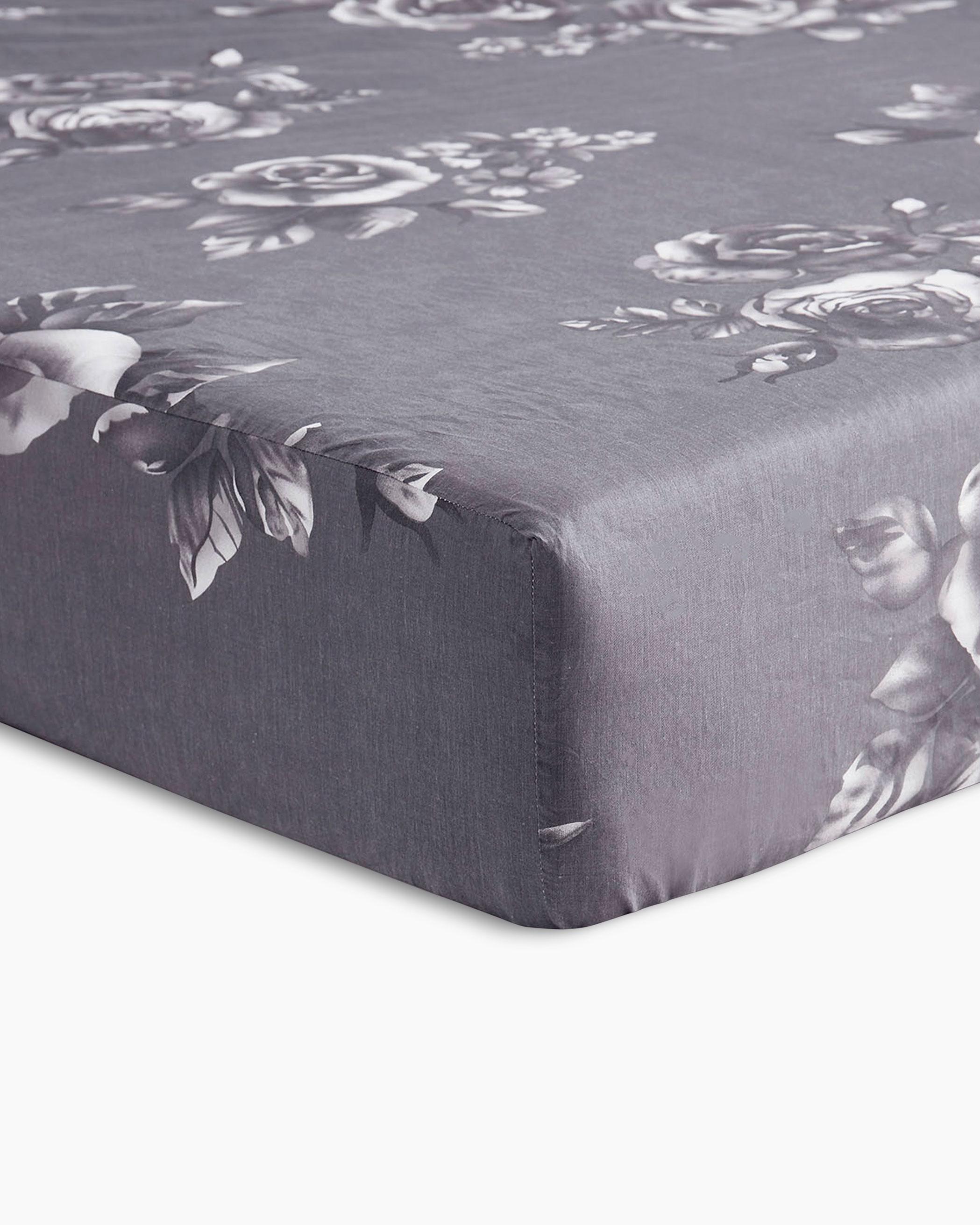 Gray Roses Cotton Sheet Set