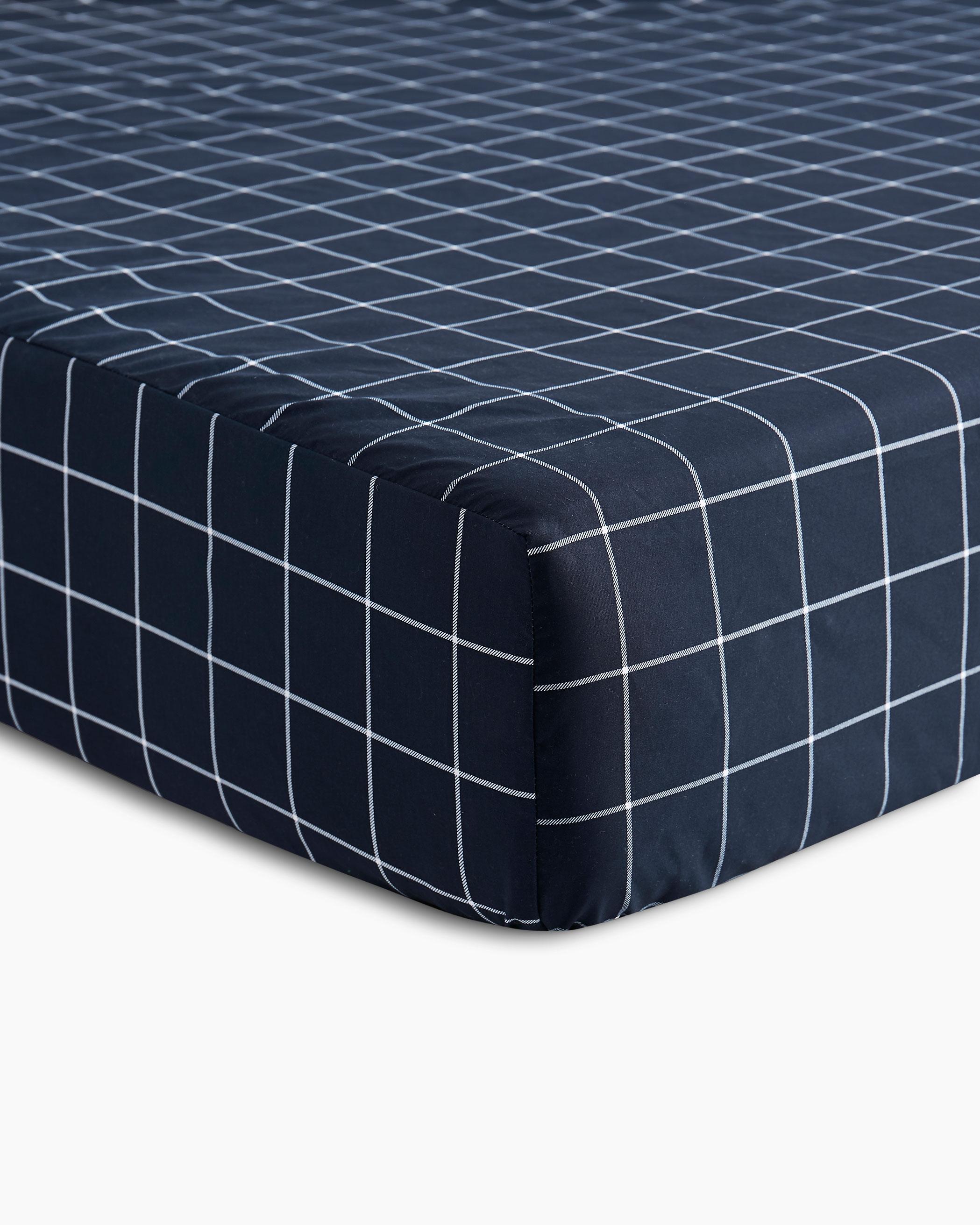 Navy Grid Microfiber Sheet Set