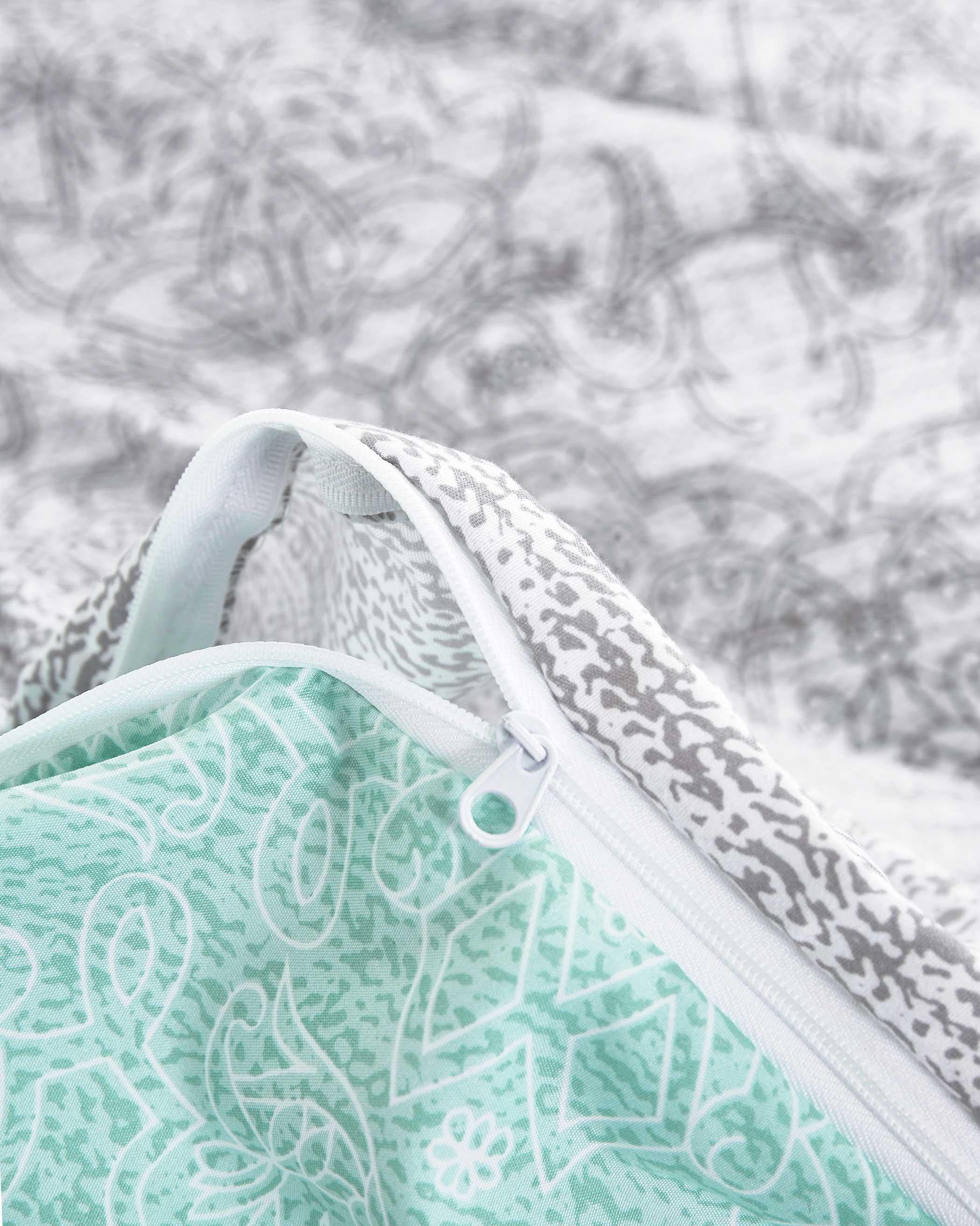 Gray Teal Microfiber Duvet Cover Set