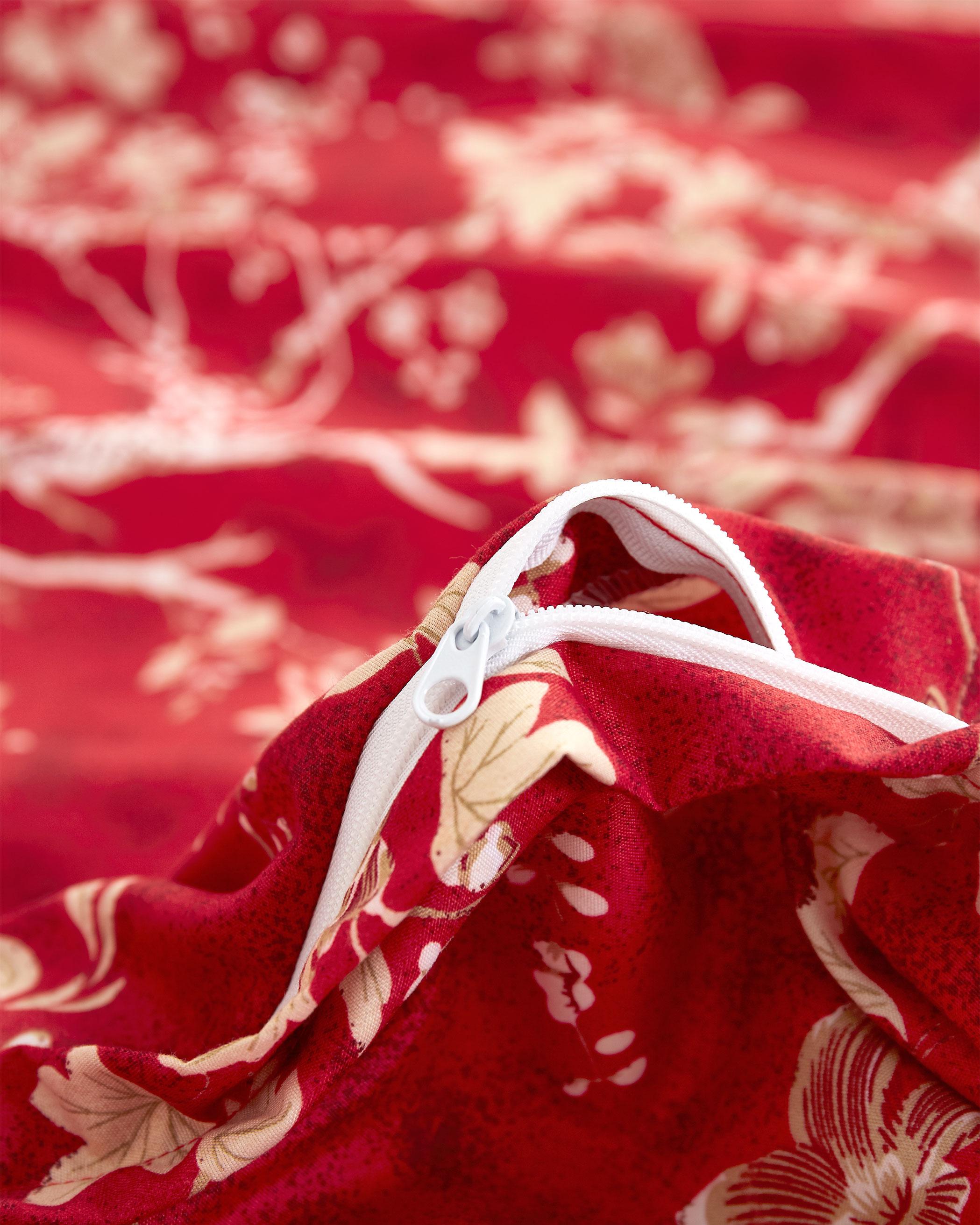 Red Floral Microfiber Duvet Cover Set